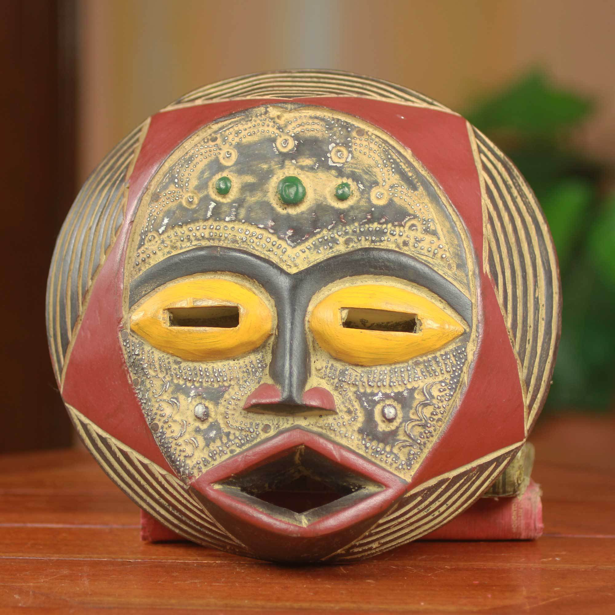 Shop Handcrafted Sese Wood \'Ghanaian Star\' African Wall Mask (Ghana ...
