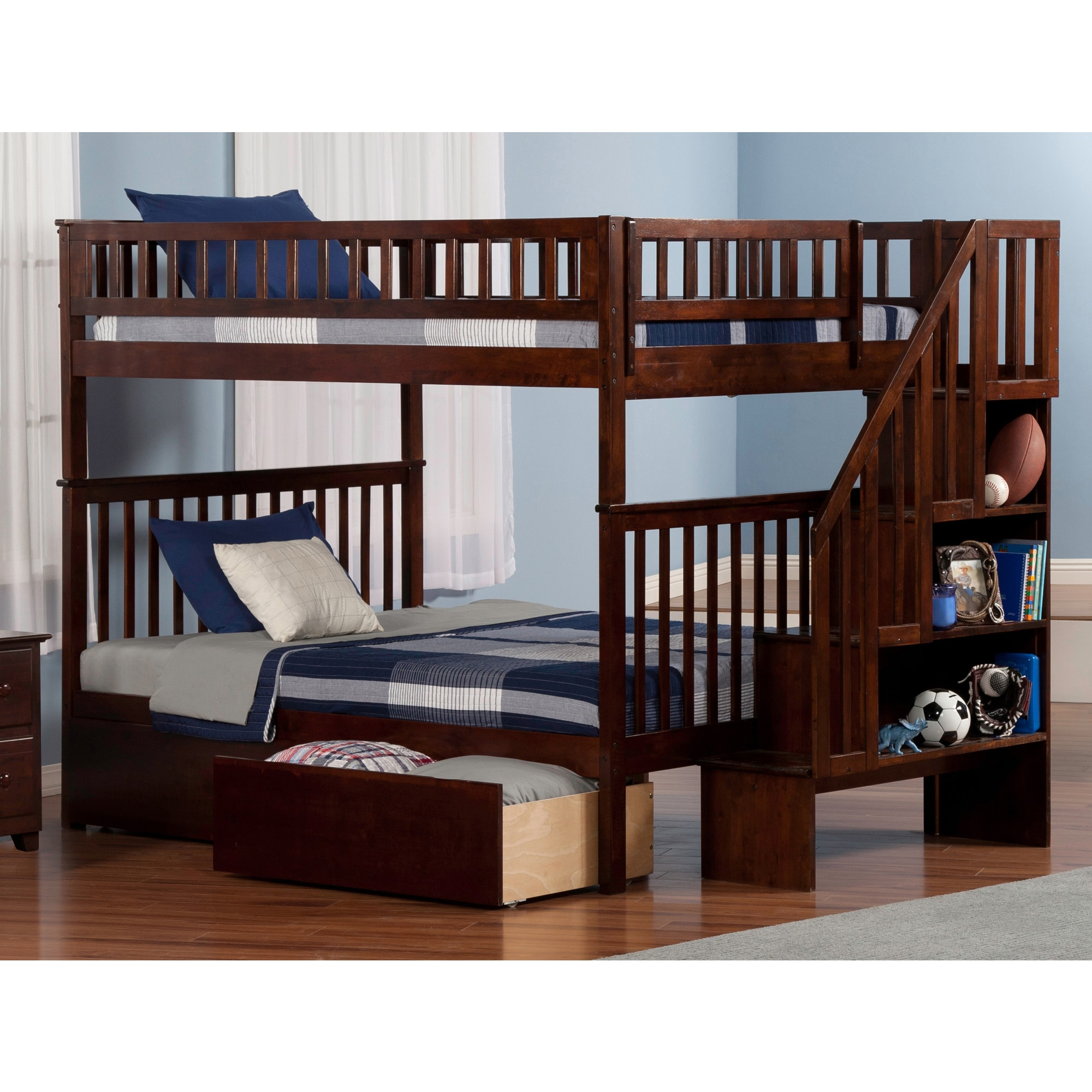 Shop Woodland Staircase Bunk Bed Full Over Full With 2 Urban Bed