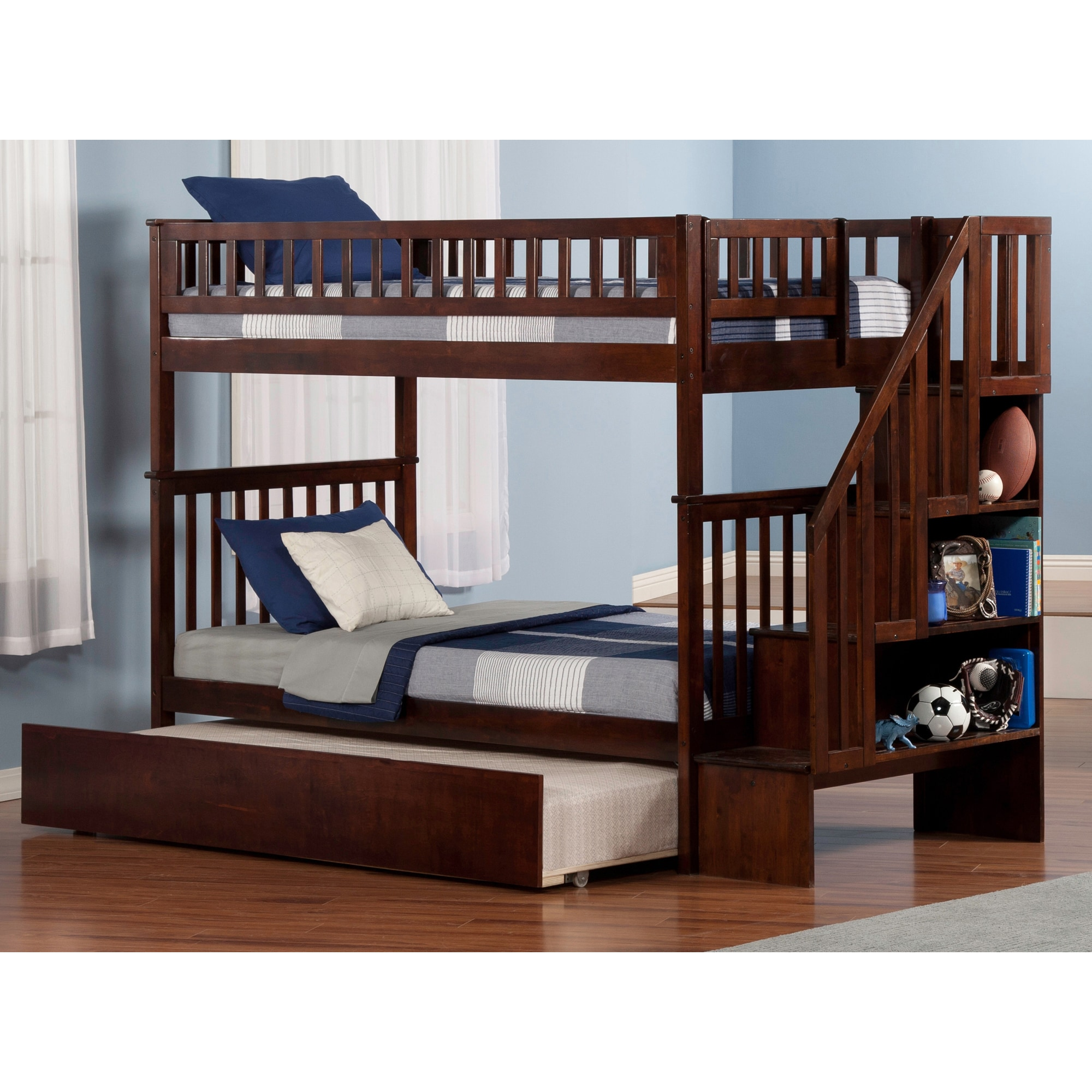 Shop Woodland Staircase Bunk Bed Twin Over Twin With Urban Trundle