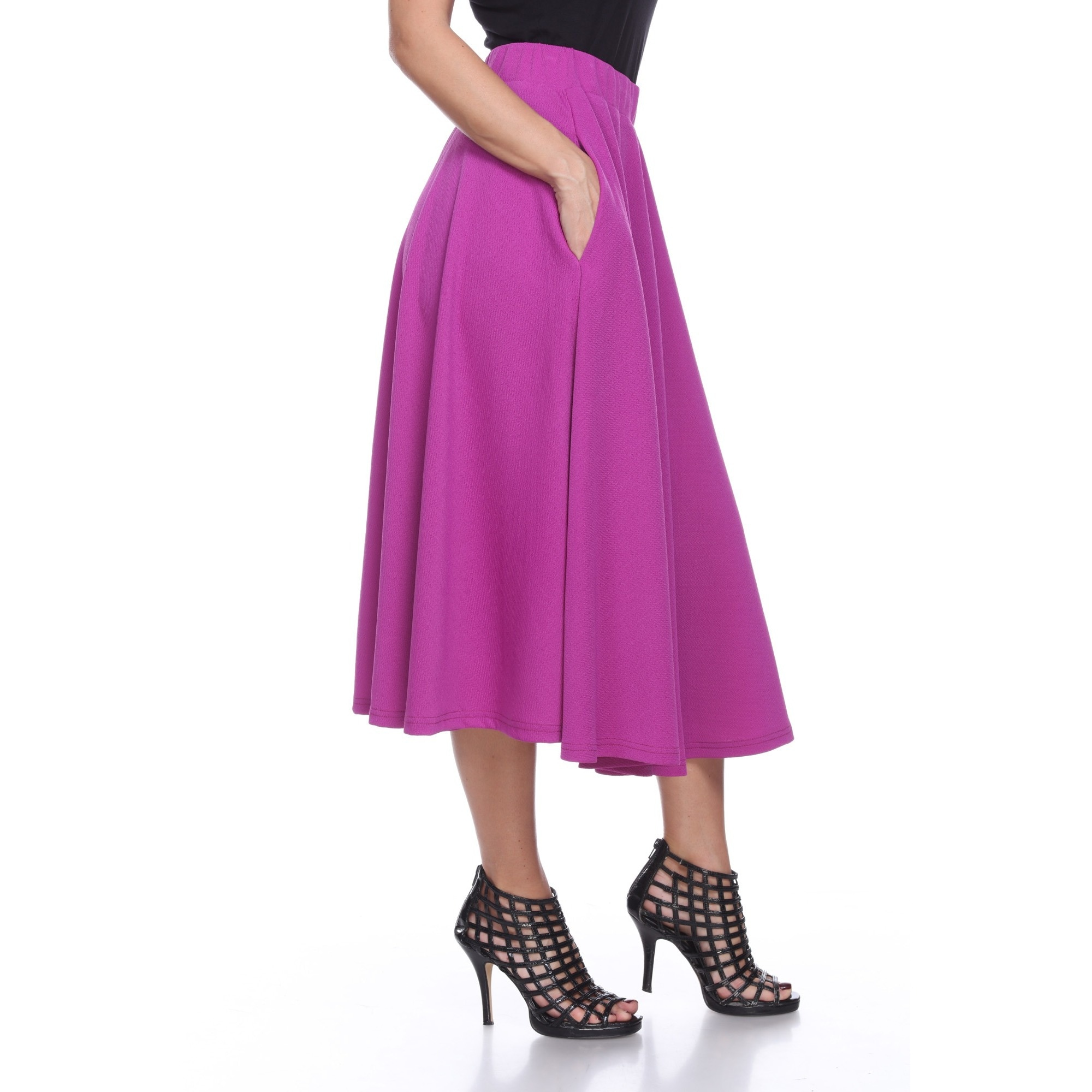 258016276d7d Shop White Mark Women s Tasmin Red Grey Purple Polyester Spandex Midi Skirt  - Free Shipping On Orders Over  45 - Overstock - 13049067