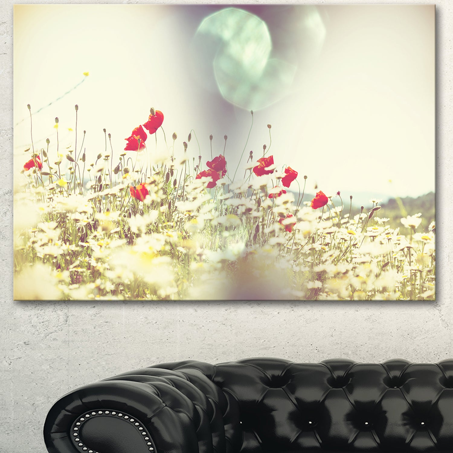 Shop Red and White Poppy Flowers Field - Large Flower Wall Artwork ...