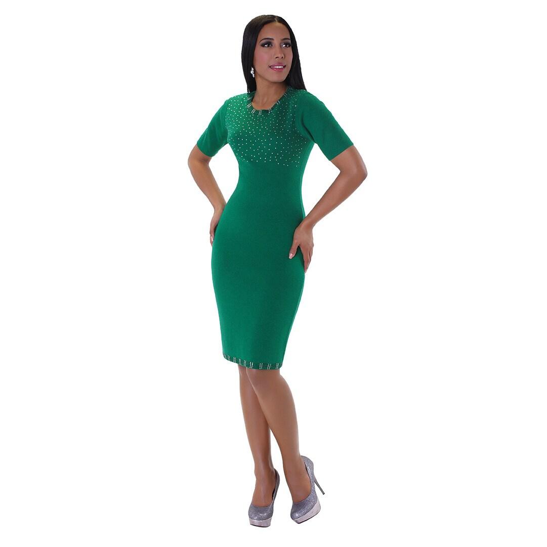Shop Kayla Collection Women S Green Wool And Rhinestone 2 Piece Knit