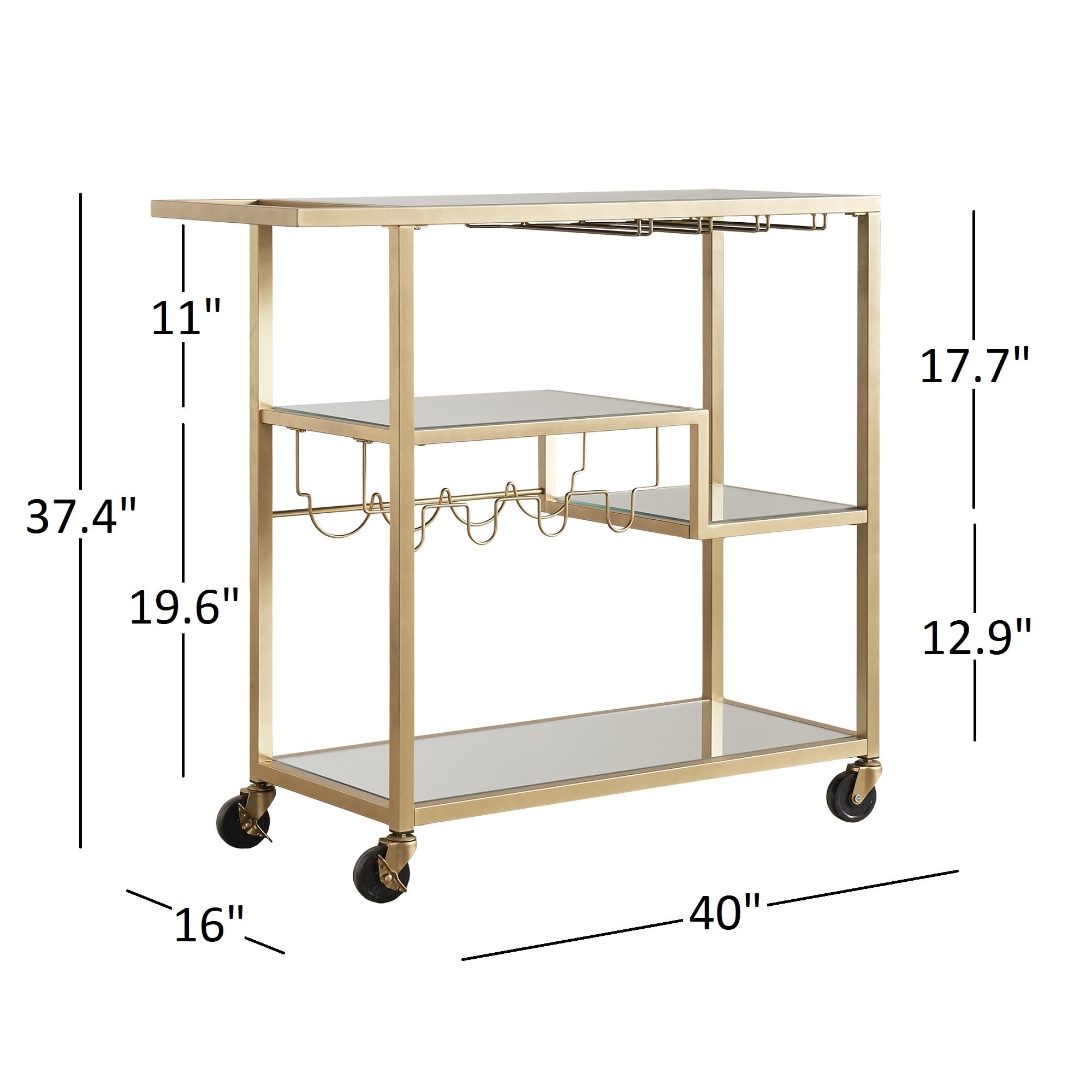 Metropolitan Gold Metal Mobile Bar Cart With Mirror Gl Top By Inspire Q Bold Free Shipping Today 13057939