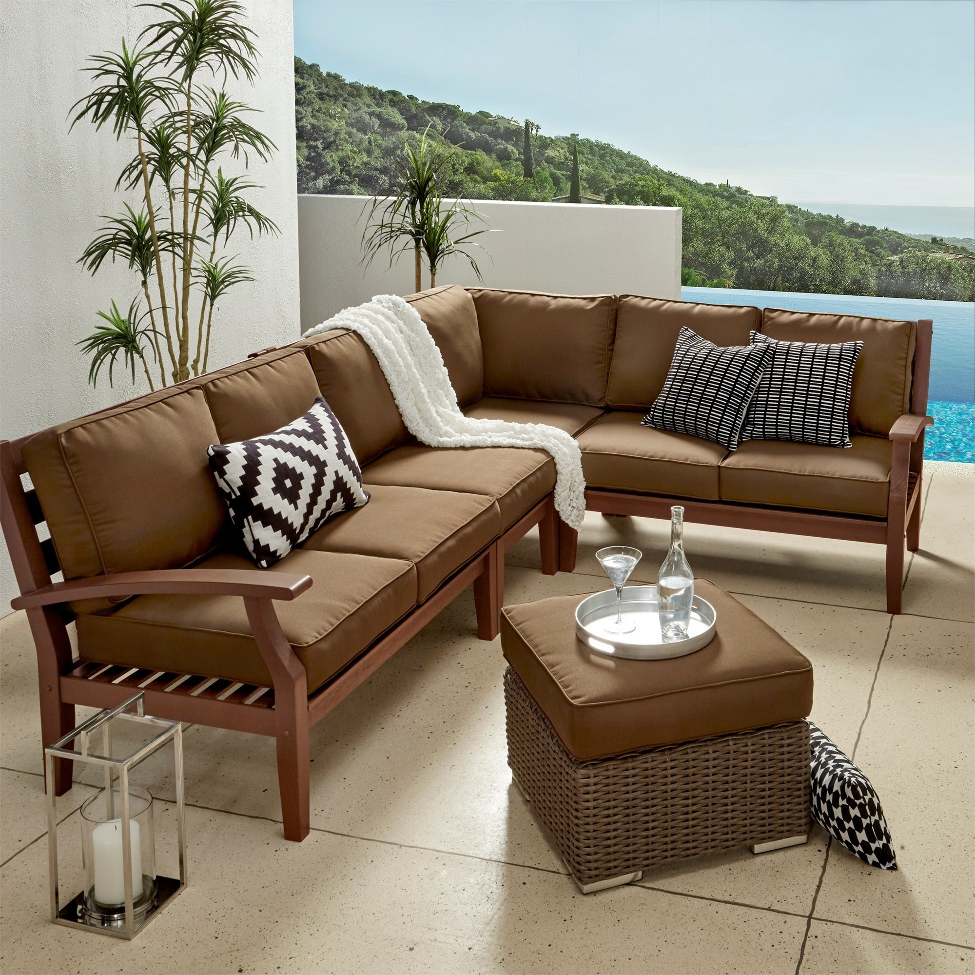 Shop Yasawa Modern Brown Outdoor Cushioned Wood Sectional iNSPIRE Q ...