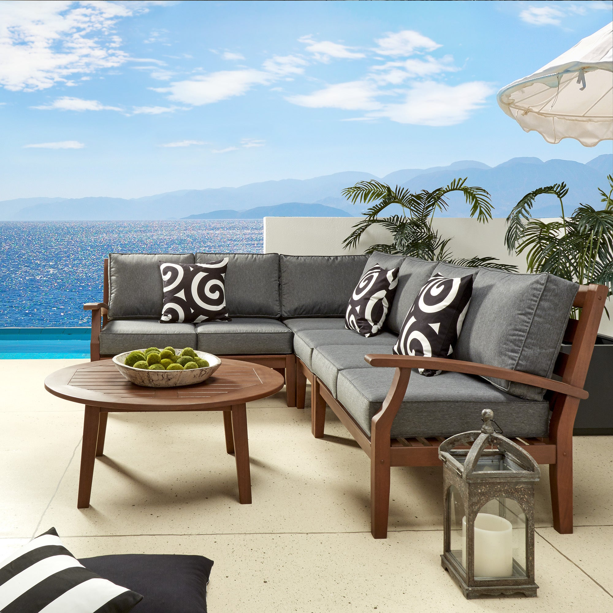 Yasawa Modern Brown Outdoor Cushioned Wood Sectional iNSPIRE Q Oasis - Free  Shipping Today - Overstock.com - 19796788