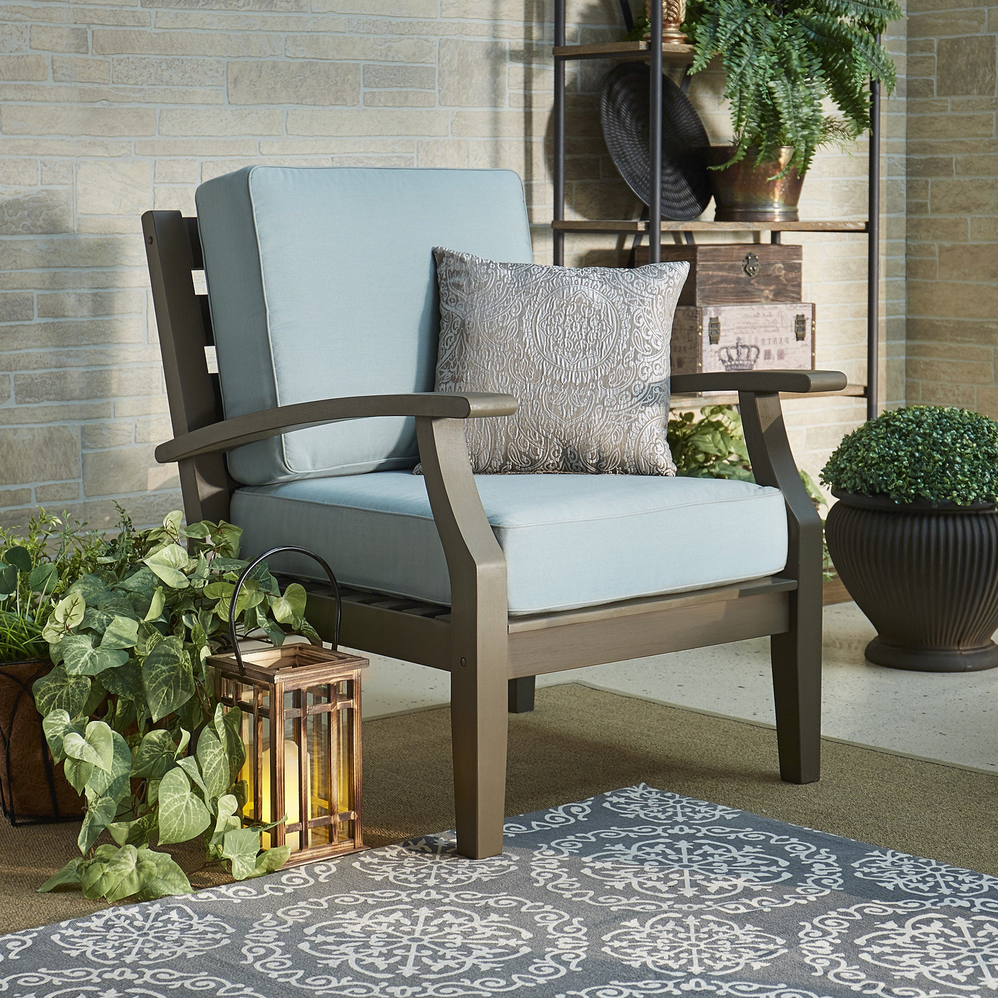 Yasawa Grey Modern Outdoor Cushioned Wood Chair iNSPIRE Q Oasis - Free  Shipping Today - Overstock
