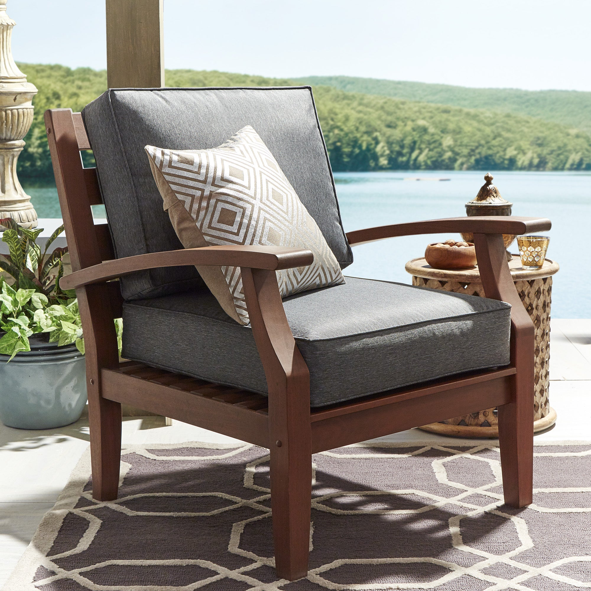 Yasawa Brown Modern Outdoor Cushioned Wood Chair iNSPIRE Q Oasis - Free  Shipping Today - Overstock.com - 19796801