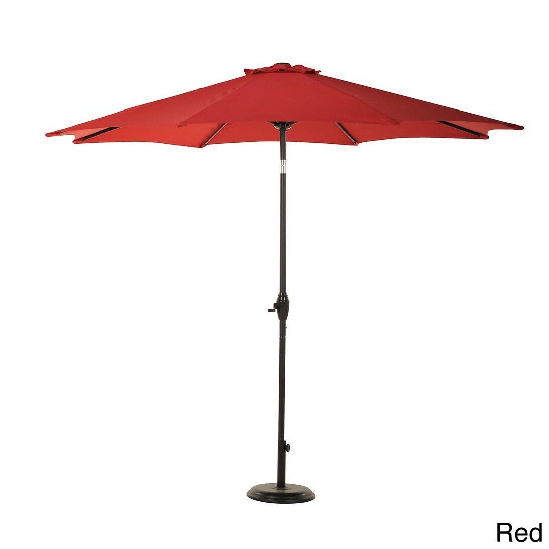 Grand Patio 9 Foot Outdoor Aluminum Market Umbrella With Auto Tilt And Crank 8 Ribs