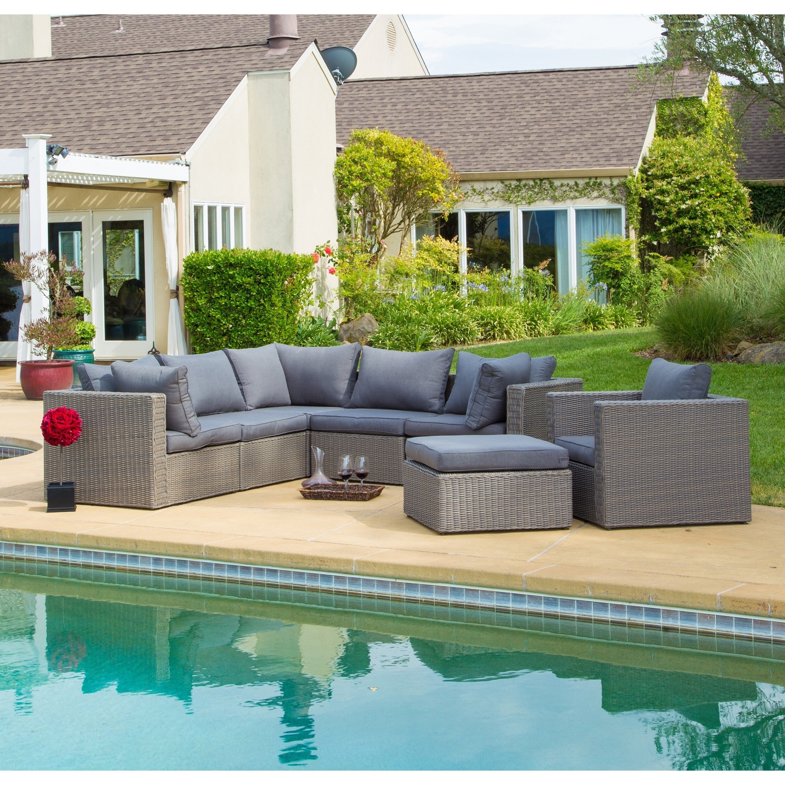 Shop Corvus Sevilla 7 Piece Outdoor Wicker Furniture Set With Cushions    Free Shipping Today   Overstock.com   13059274