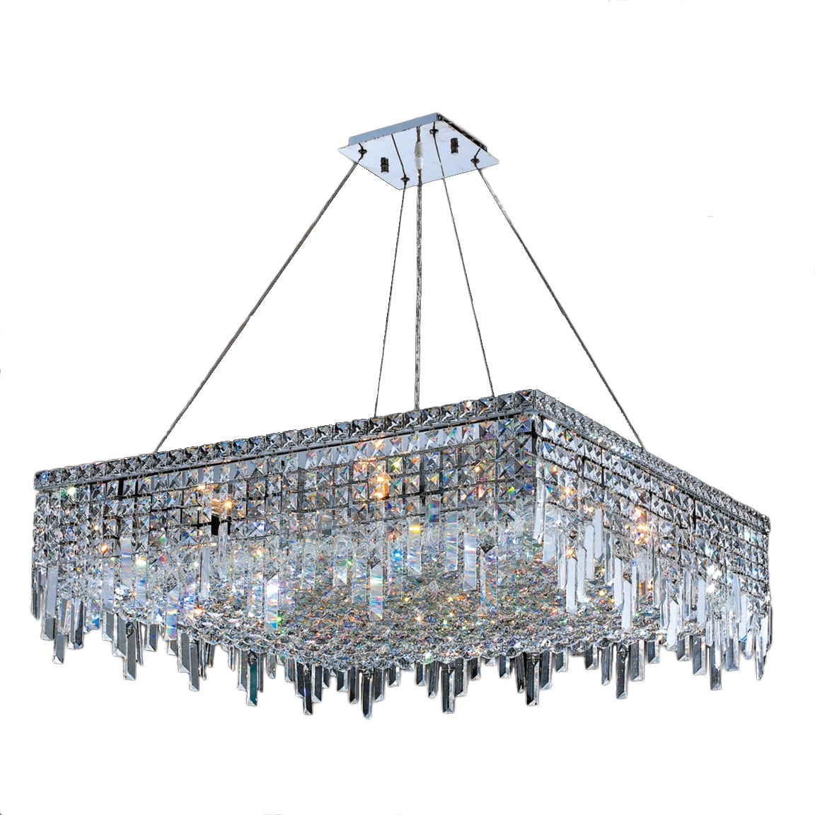 Glam art deco style collection 12 light chrome finish crystal square glam art deco style collection 12 light chrome finish crystal square flush mount chandelier 32 l x 32 w x 105 h large free shipping today arubaitofo Gallery