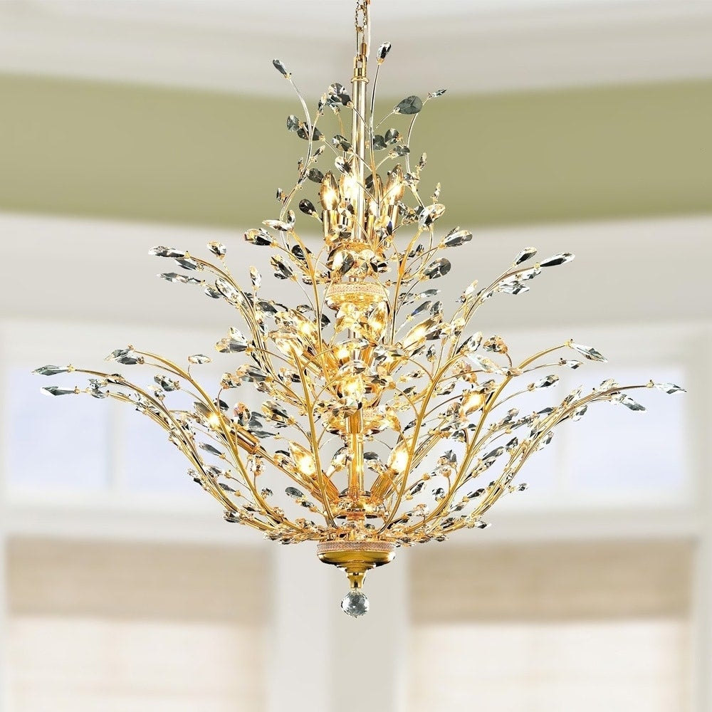 Floral orchid collection 18 light gold finish crystal flower floral orchid collection 18 light gold finish crystal flower chandelier 41 d x 34 h three 3 tier large free shipping today overstock 19797885 arubaitofo Gallery