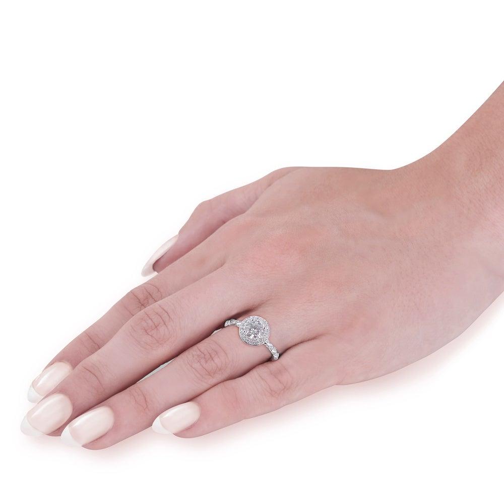 14k White Gold 1 ct Lab Grown Diamond Vintage Braided Halo ...
