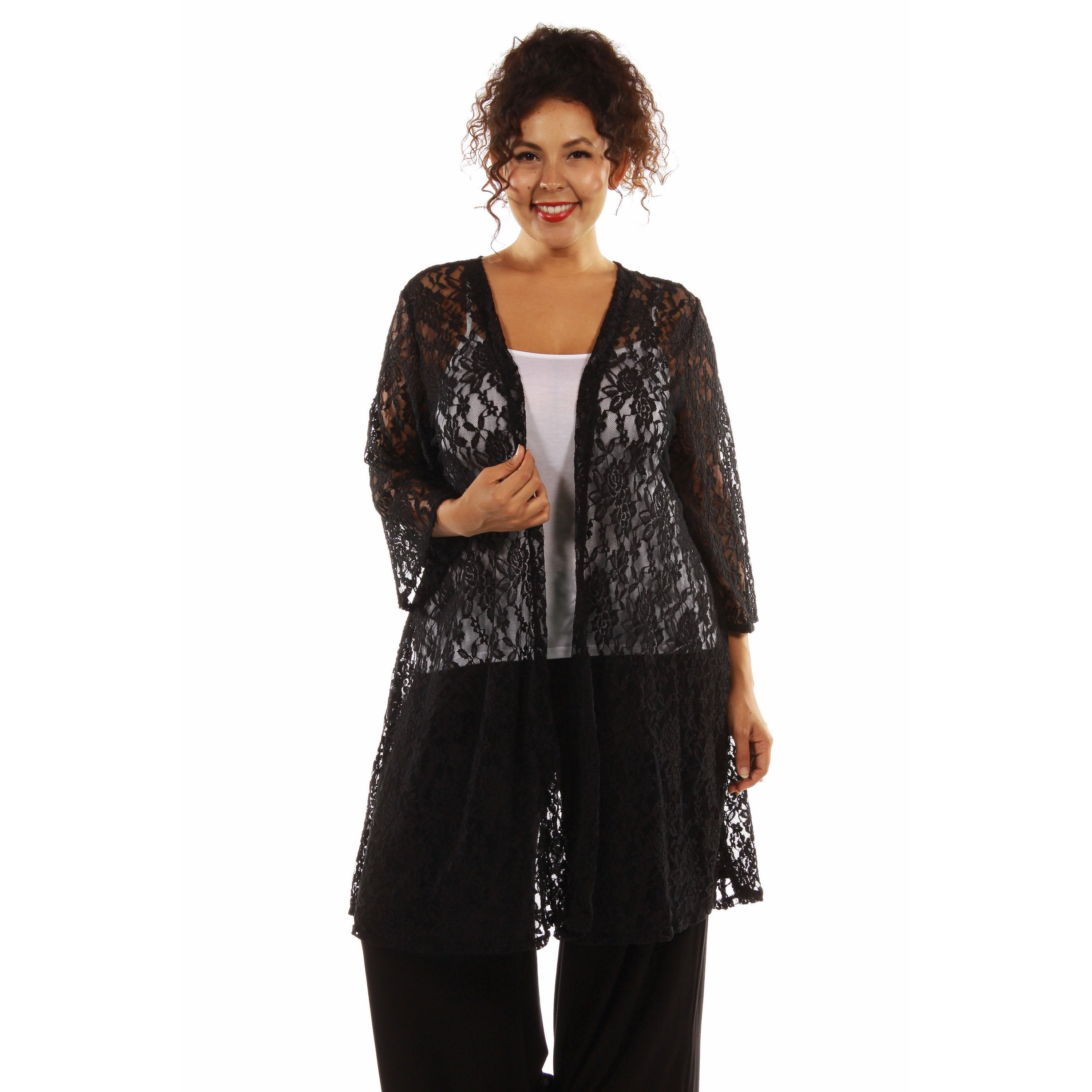 Shop 24 7 Comfort Apparel Women s Elegant Lace Plus Size Cardigan Shrug -  On Sale - Free Shipping On Orders Over  45 - Overstock - 13082362 1d359f967