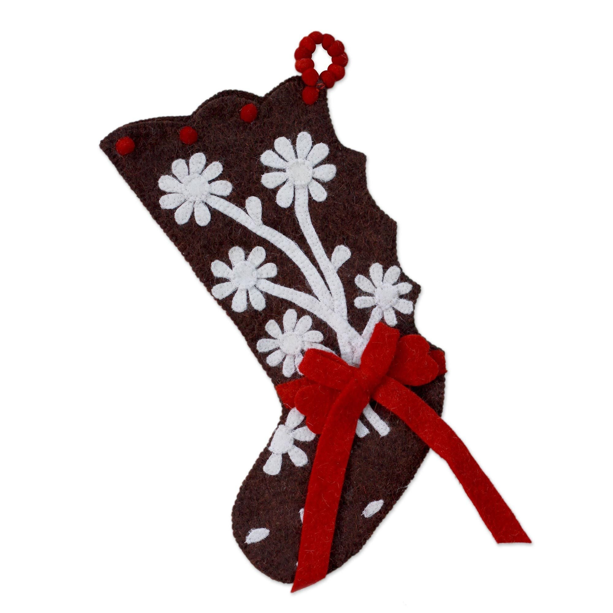 Handmade Wool \'Gingerbread Feast\' Christmas Stocking (India) - Free ...