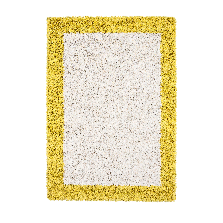 Shop Jani Silky Shag Ivory and Mustard Yellow Border Rug - 8\' x 10 ...