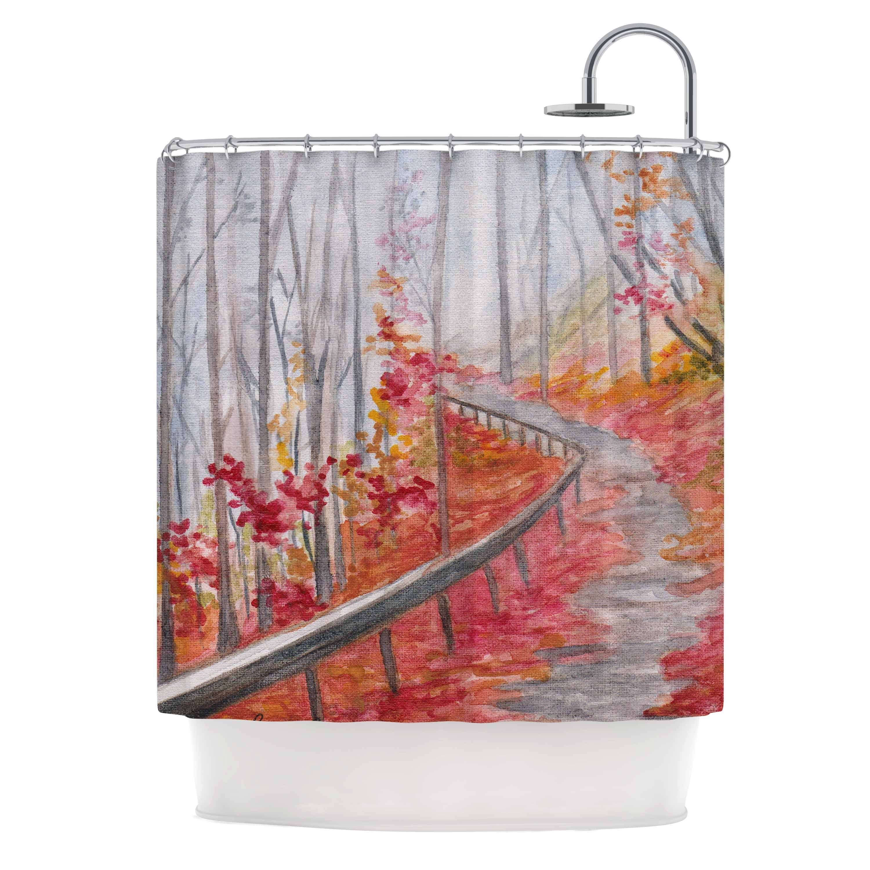 Shop Kess InHouse Rosie Brown Amicalola Falls Orange Gray Shower Curtain