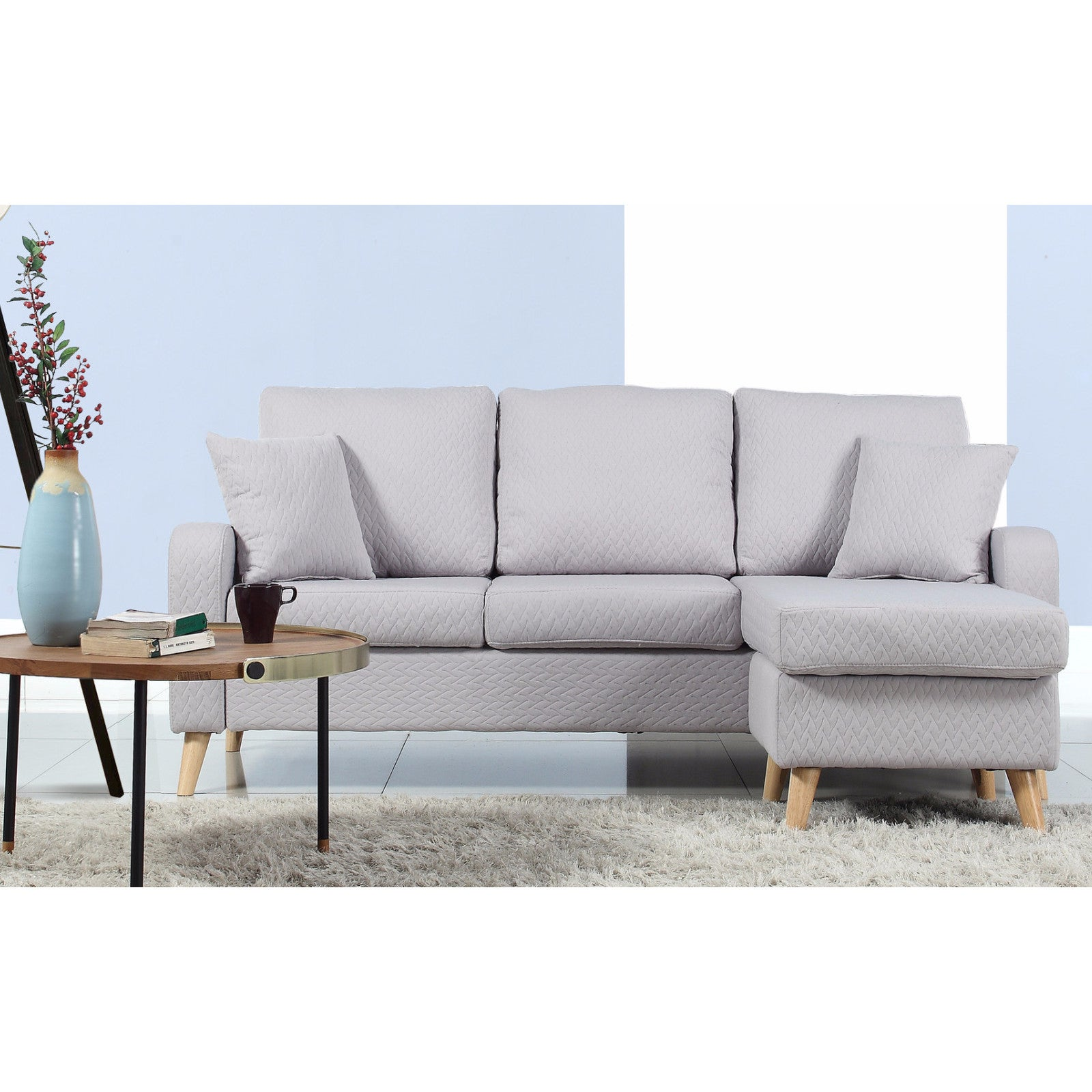 Mid Century Modern Small E Sectional Sofa With Reversible Chase Free Shipping Today 13096745