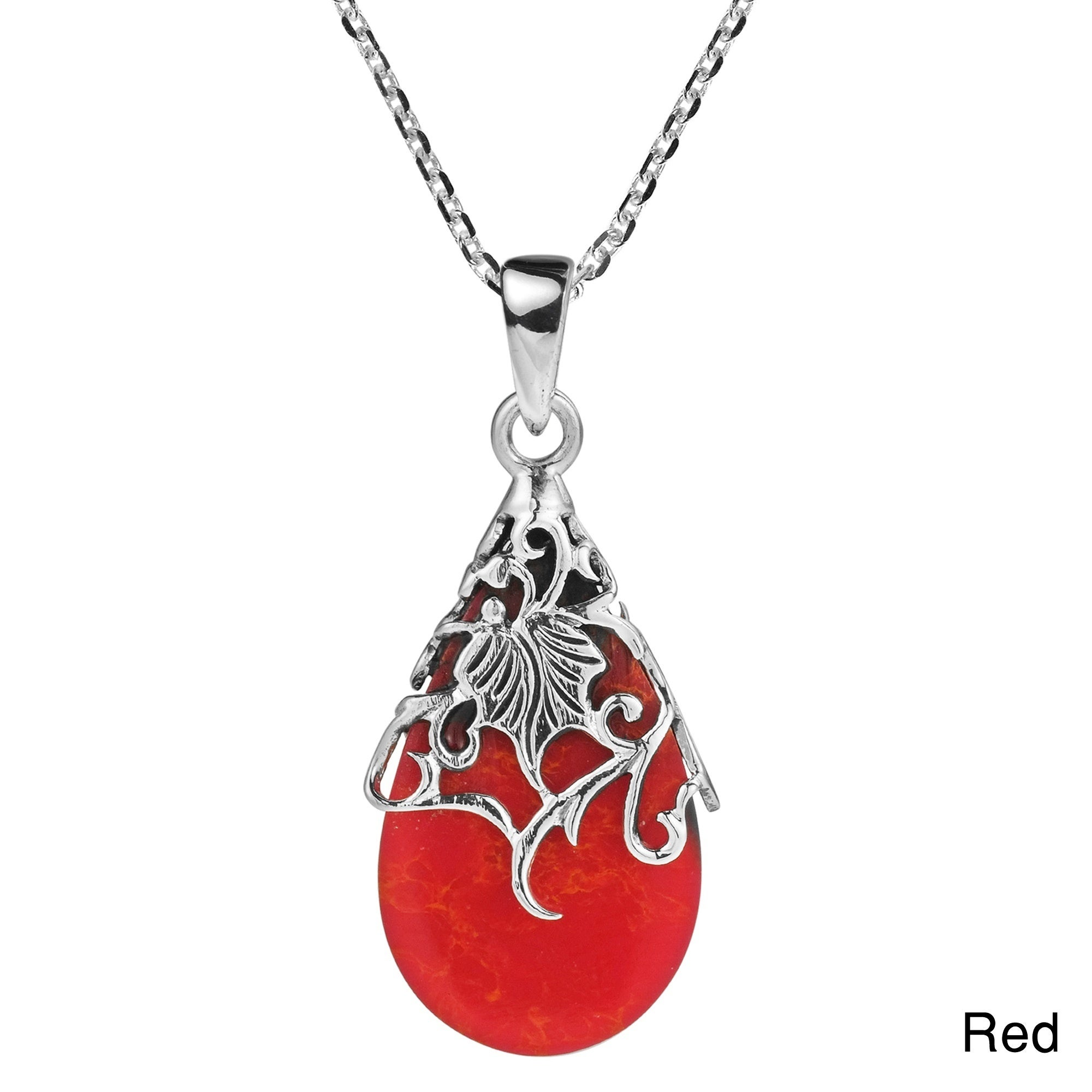 pendant egg ghost jewelry heart gucci gallery necklace sterling silver lyst red in