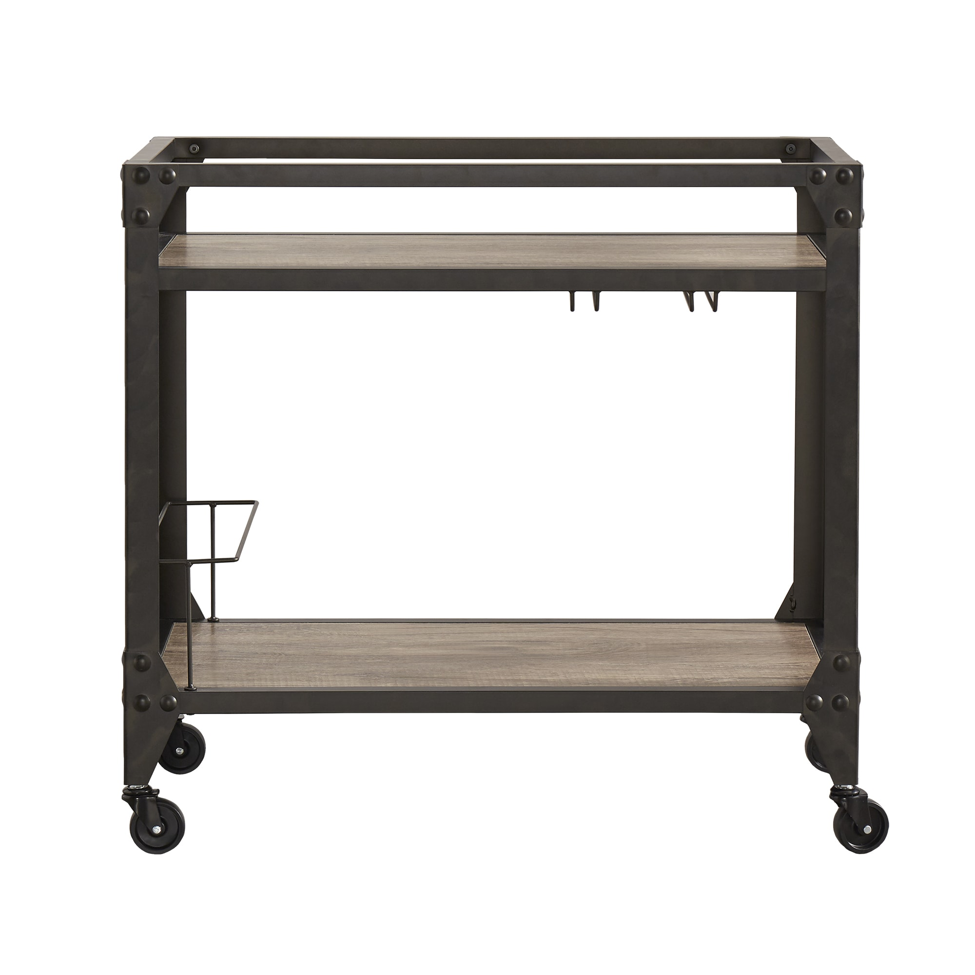 Metropolitan Charcoal Grey Industrial Metal Mobile Bar Cart with Wood  Shelves by iNSPIRE Q Artisan - Free Shipping Today - Overstock.com -  19830211