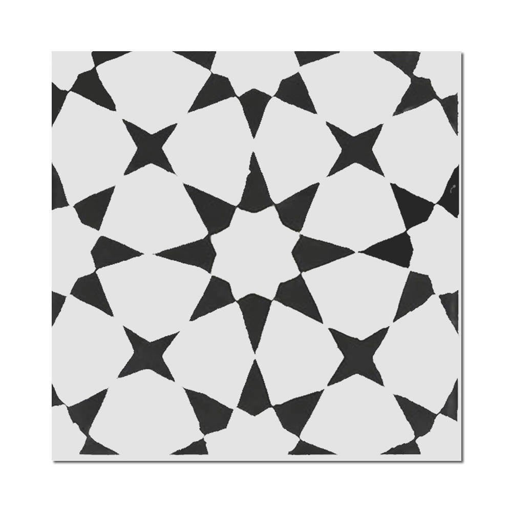 Shop Medina Black And White Handmade Cement Moroccan Tile 8 Inch X