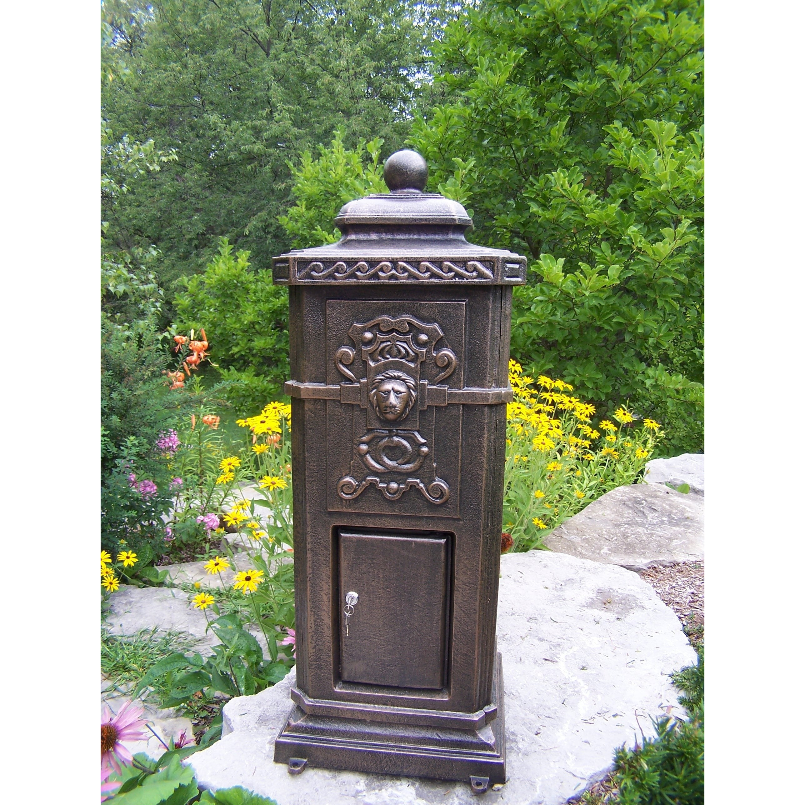 overstock cast box aluminum keys product garden and shipping bronze home victorian free mail installed lexington with lock pedestal pre today mailbox antique