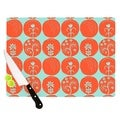 "Kess InHouse Anneline Sophia ""Dotty Papercut Orange"" Circles Teal Cutting Board"