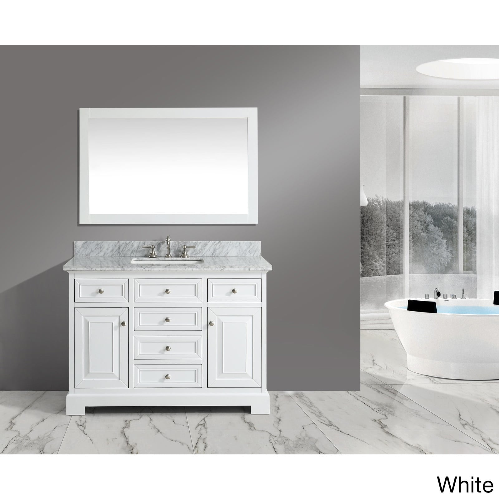 Shop rochelle white grey marble wood 48 inch bathroom sink vanity set free shipping today overstock com 13109566