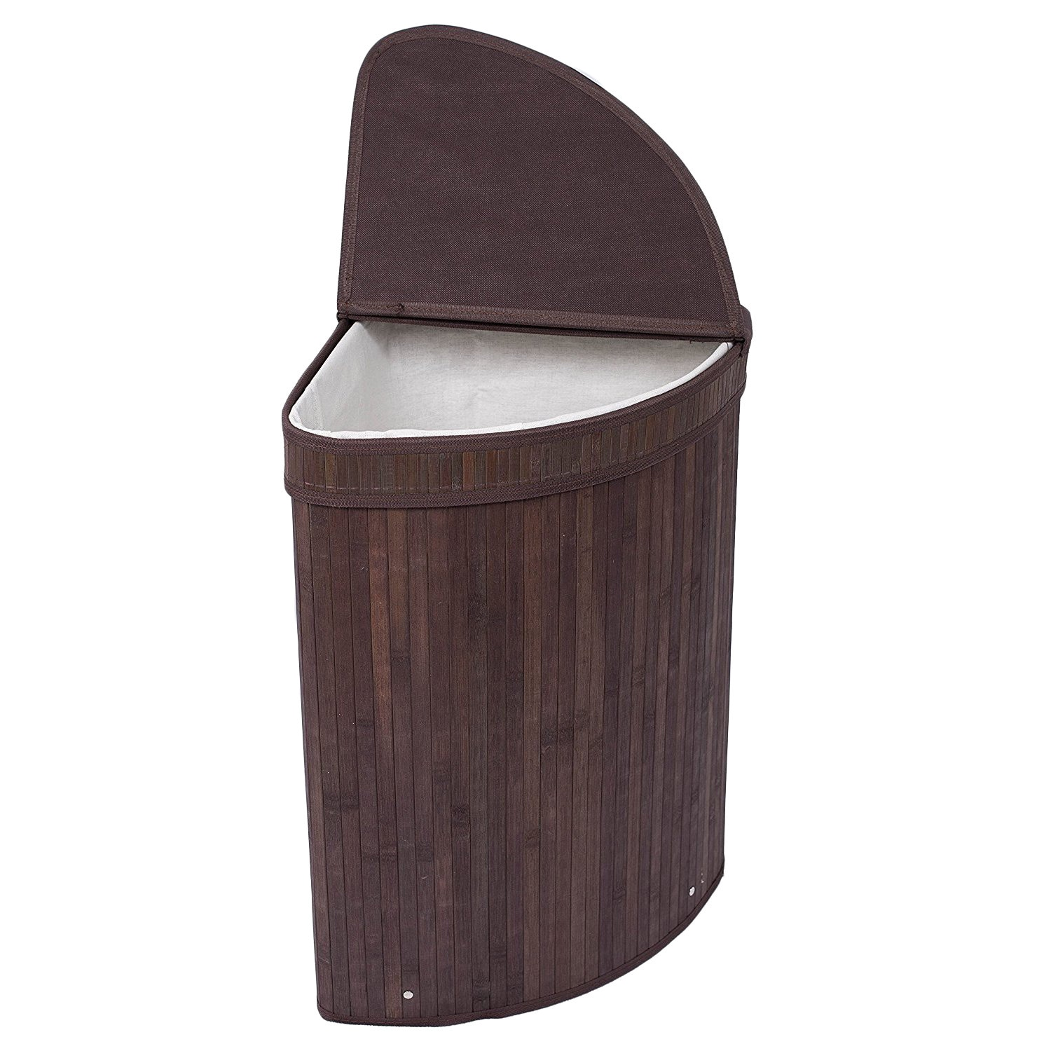 Shop birdrock home espresso finish bamboo cotton corner laundry hamper with lid and cloth liner free shipping on orders over 45 overstock com