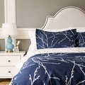 Bedsure Branch and Plum Navy Blue Printed Reversible Duvet Cover 3 Piece Set