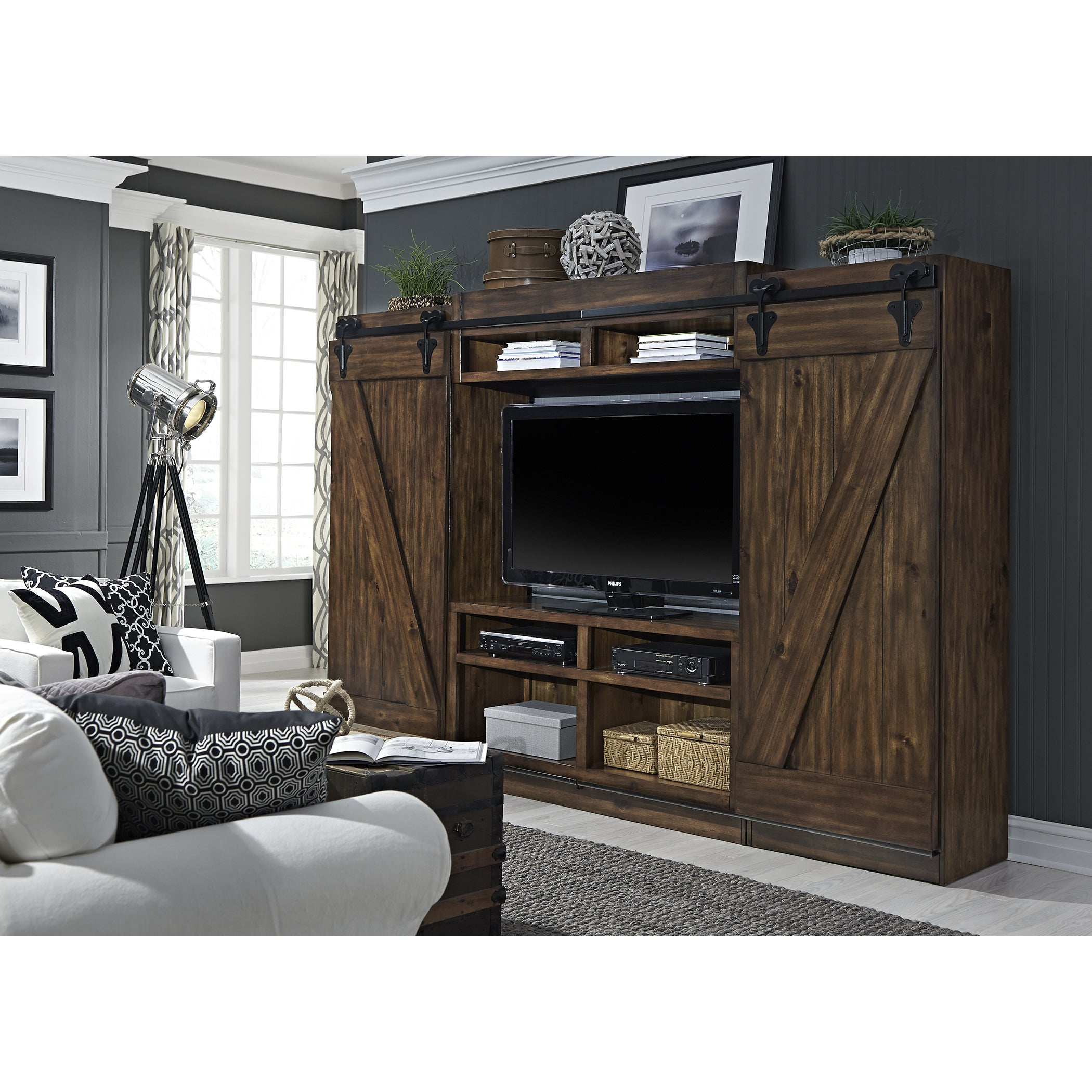 Shop lancaster iii farmhouse rustic tobacco entertainment center with piers free shipping today overstock com 13132809