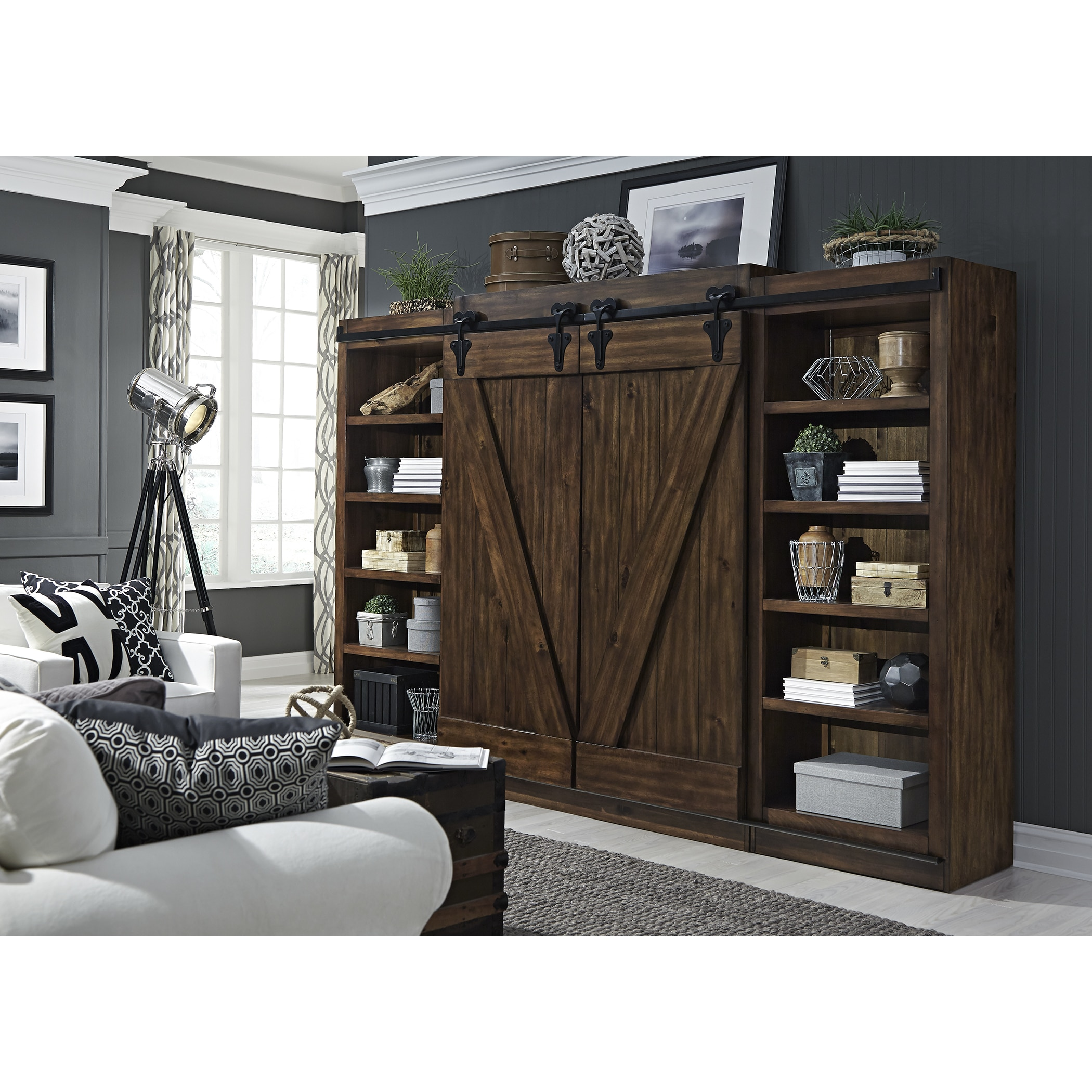 Shop Lancaster III Farmhouse Rustic Tobacco Entertainment Center With Piers