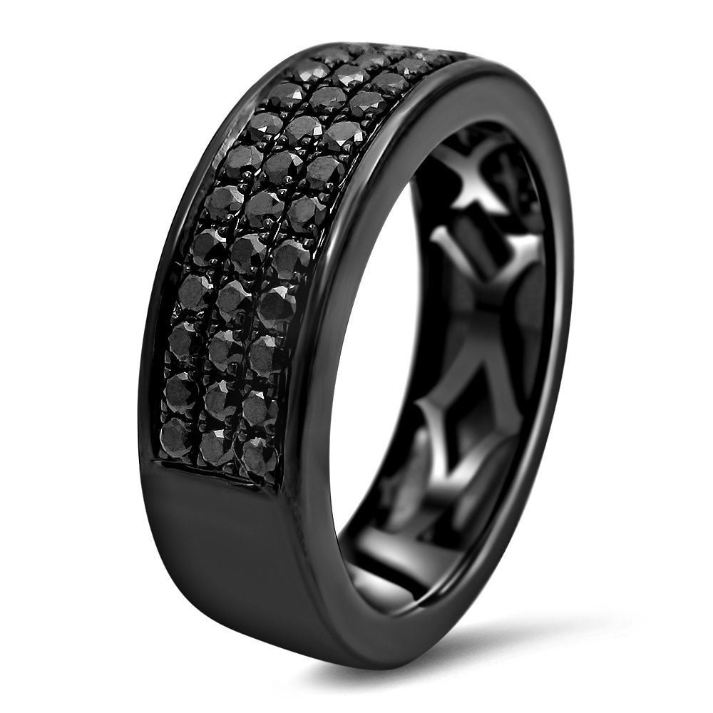 Shop Noori 14k Black Gold Menu0027s 1ct TDW Black Diamond Wedding Band Ring    Free Shipping Today   Overstock.com   13133620