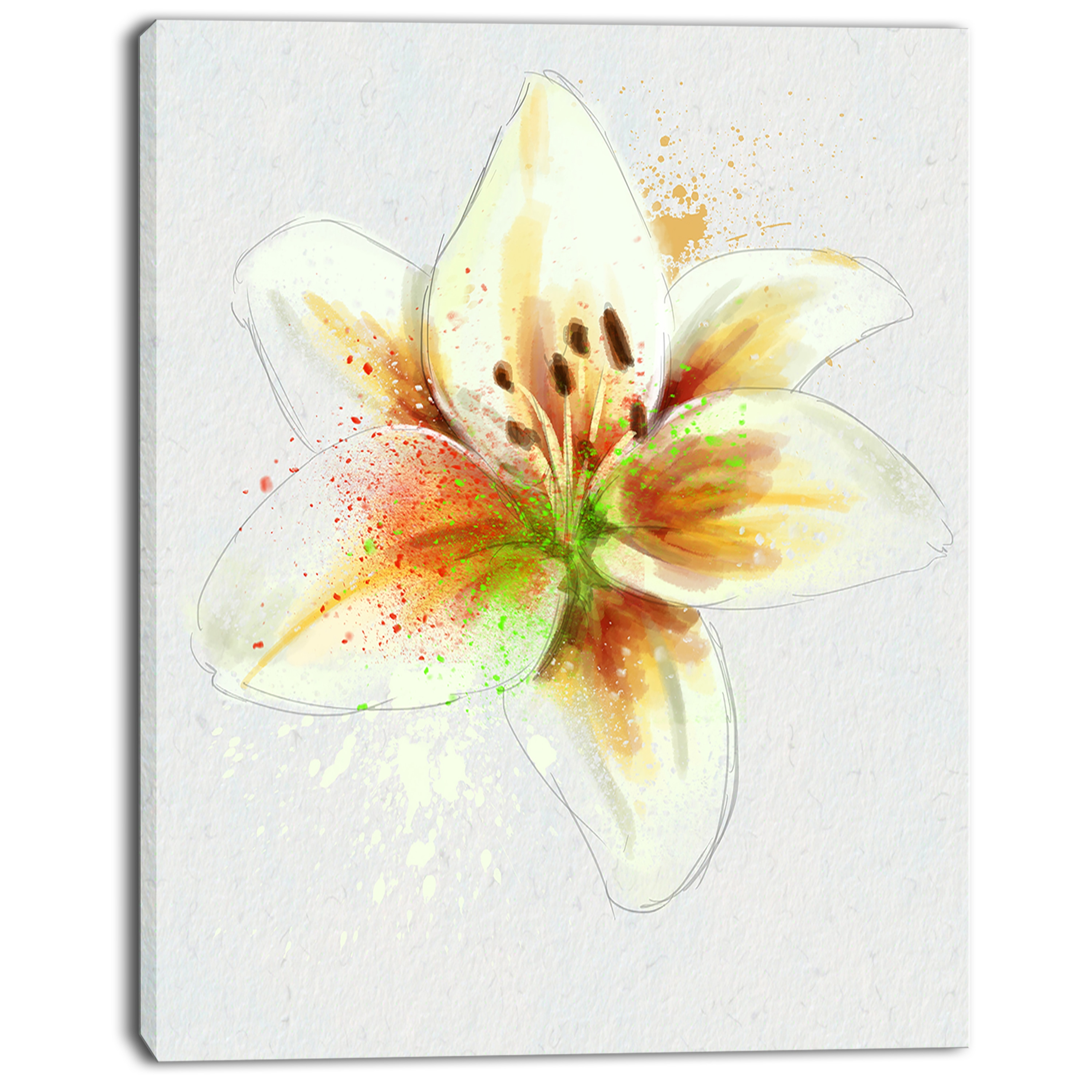 Designart \'Cute Lily Flower Watercolor Sketch\' Flowers Canvas Wall ...