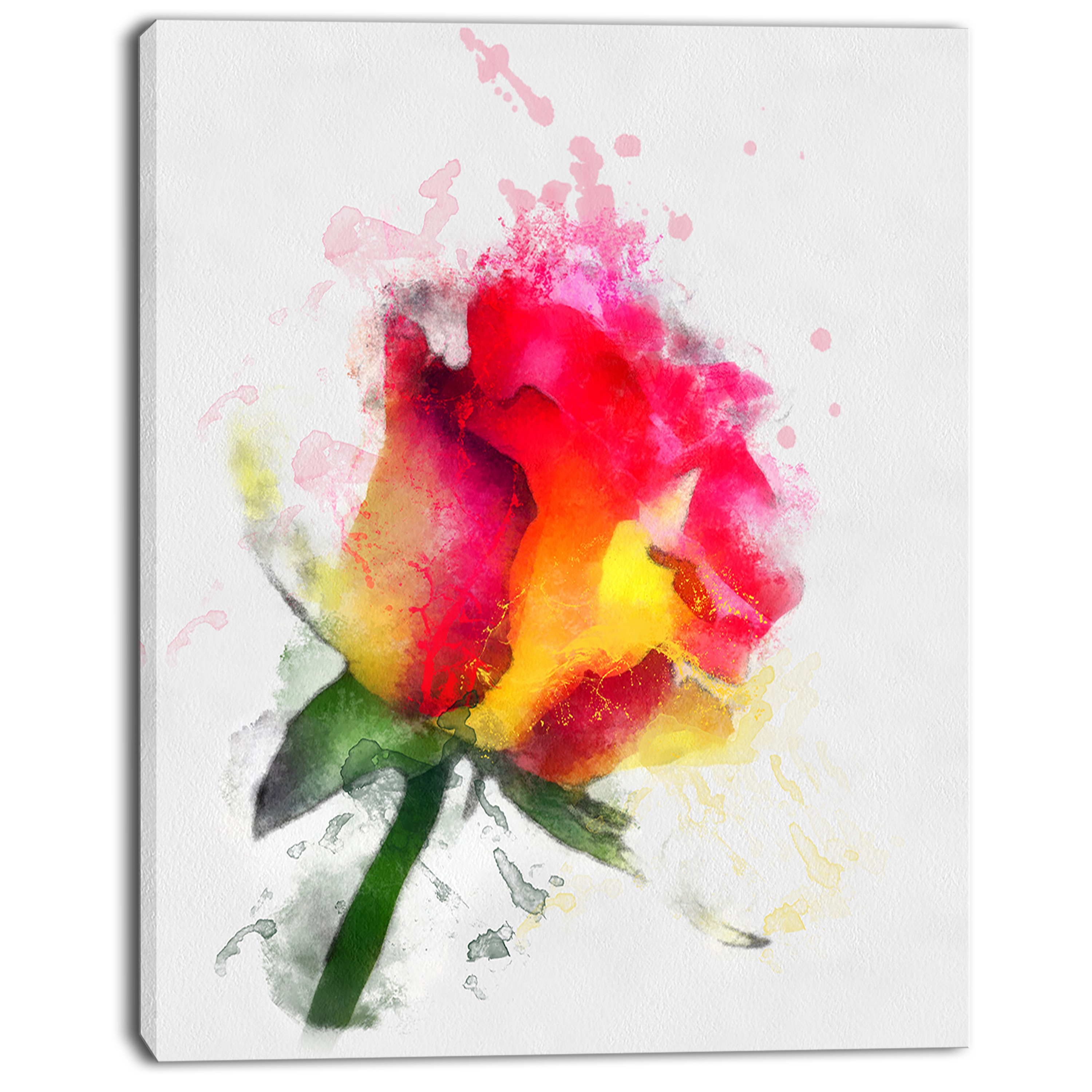 Shop Designart \'Red Hand-drawn Rose Watercolor\' Flowers Canvas Wall ...
