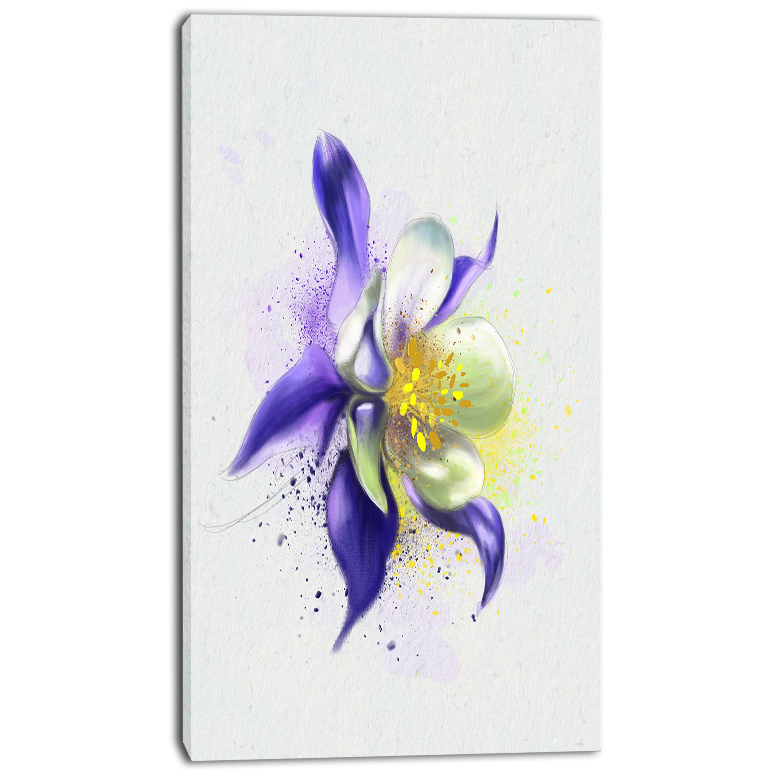 Designart Purple Flower With White Petals Floral Canvas Artwork