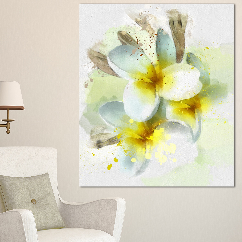 Designart \'Frangipani Flowers Watercolor \' Extra Large Floral Canvas ...