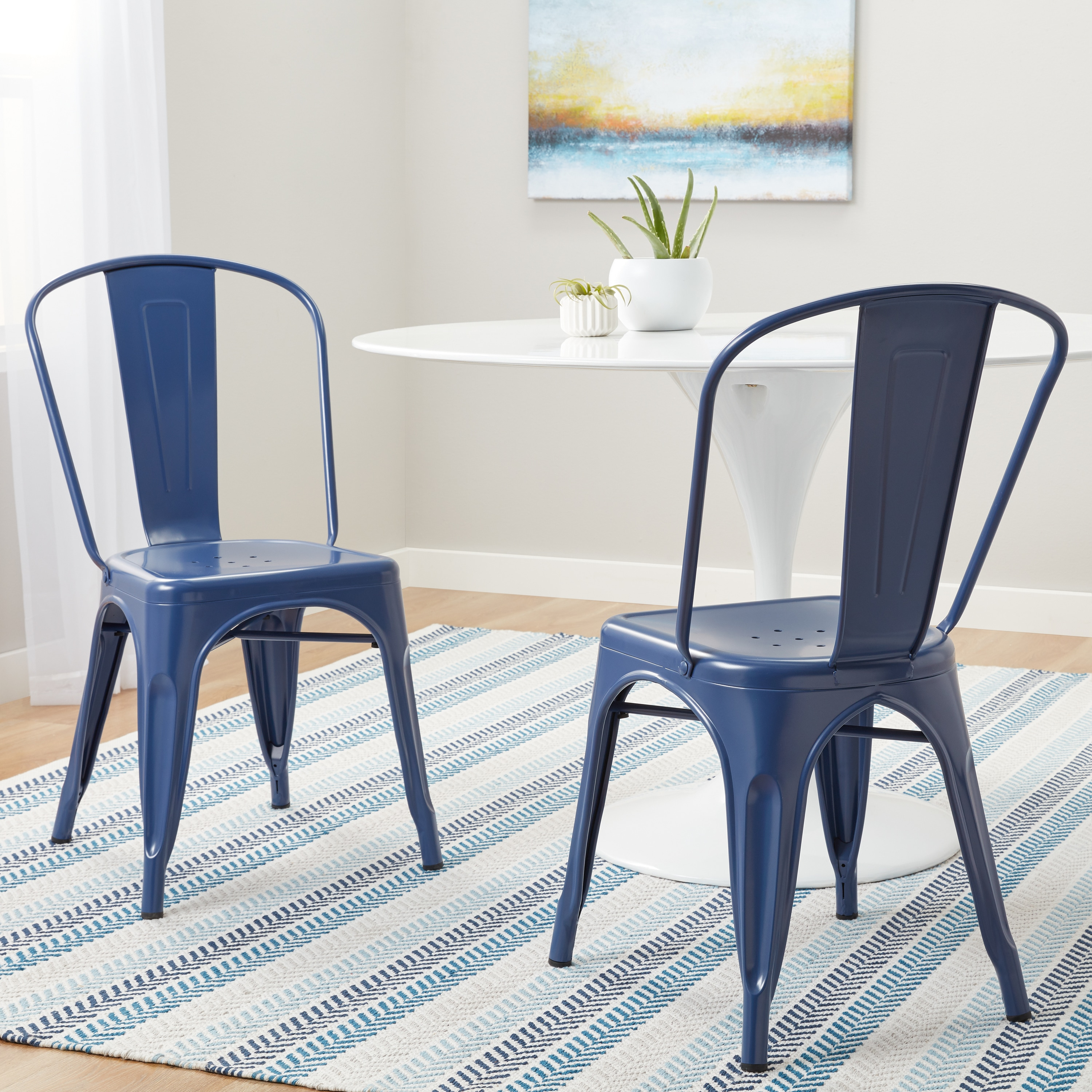 Superbe Tabouret Navy Bistro Dining Chairs (Set Of 2)