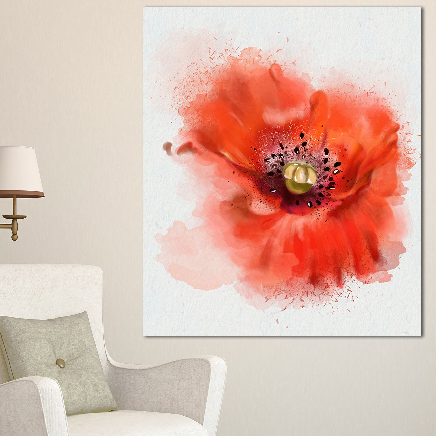Designart Stylish Red Watercolor Poppy Flower Floral Canvas