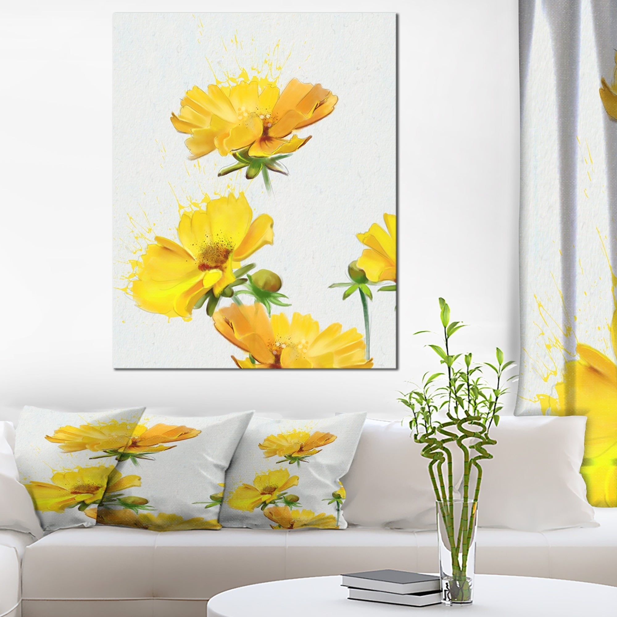 Beautiful Yellow Flowers on White\' Extra Large Floral Canvas Art ...