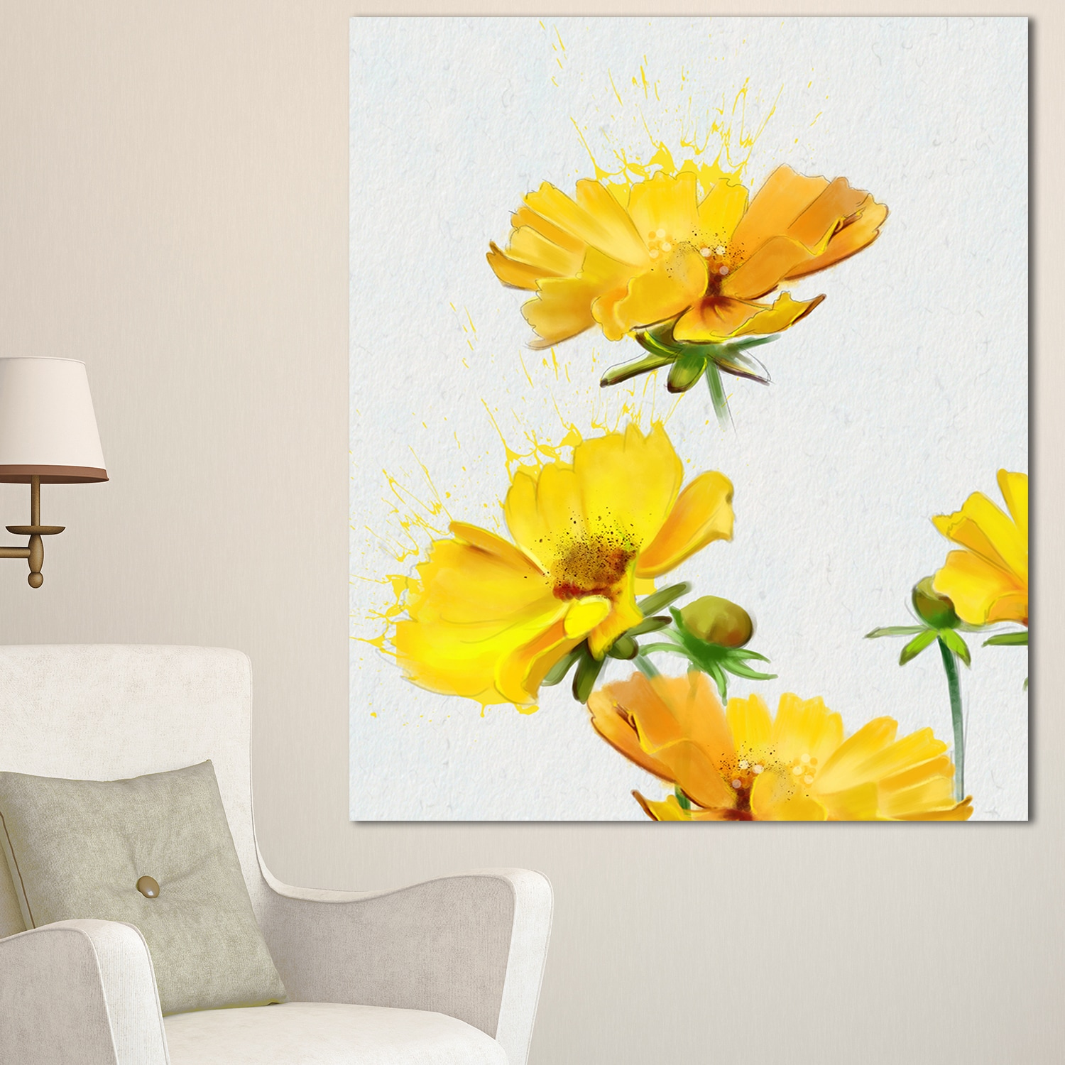 Shop Beautiful Yellow Flowers on White\' Extra Large Floral Canvas ...
