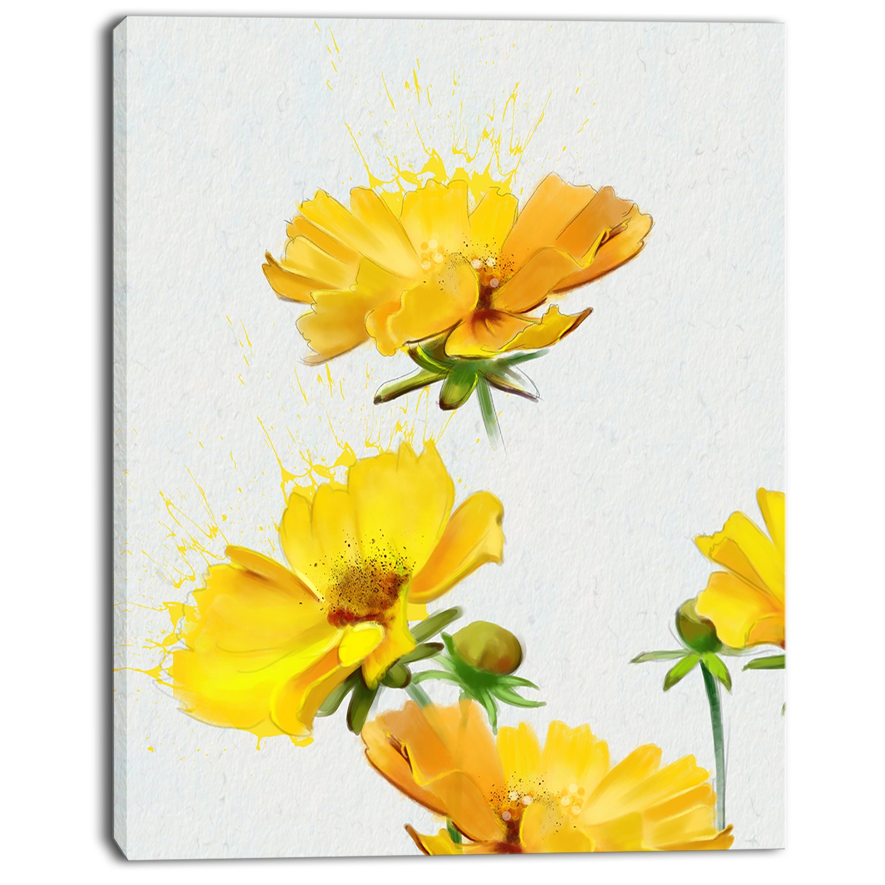 Shop beautiful yellow flowers on white extra large floral canvas shop beautiful yellow flowers on white extra large floral canvas art free shipping on orders over 45 overstock 13134935 izmirmasajfo