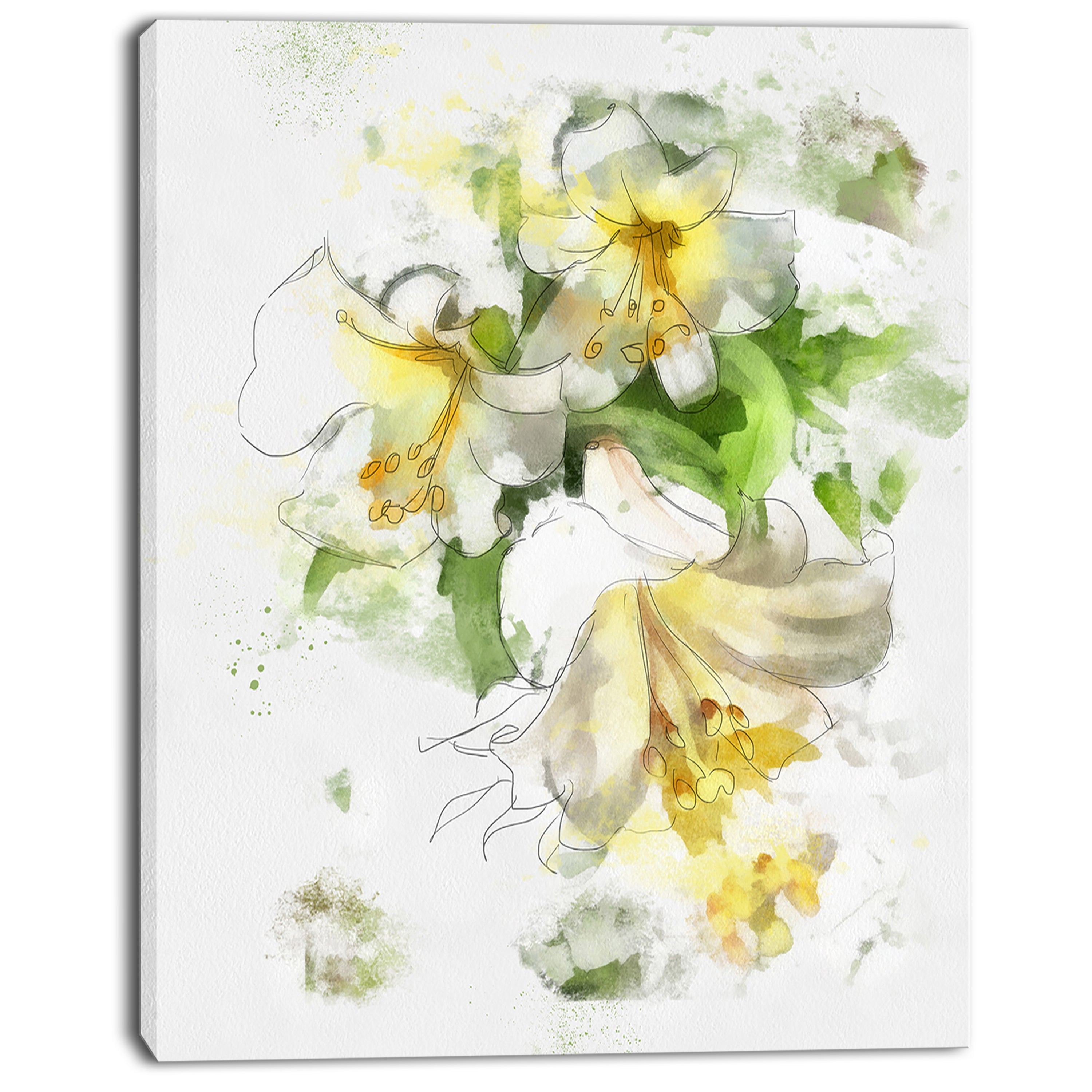 Shop Designart Bunch Of Small Flowers Watercolor Large Floral