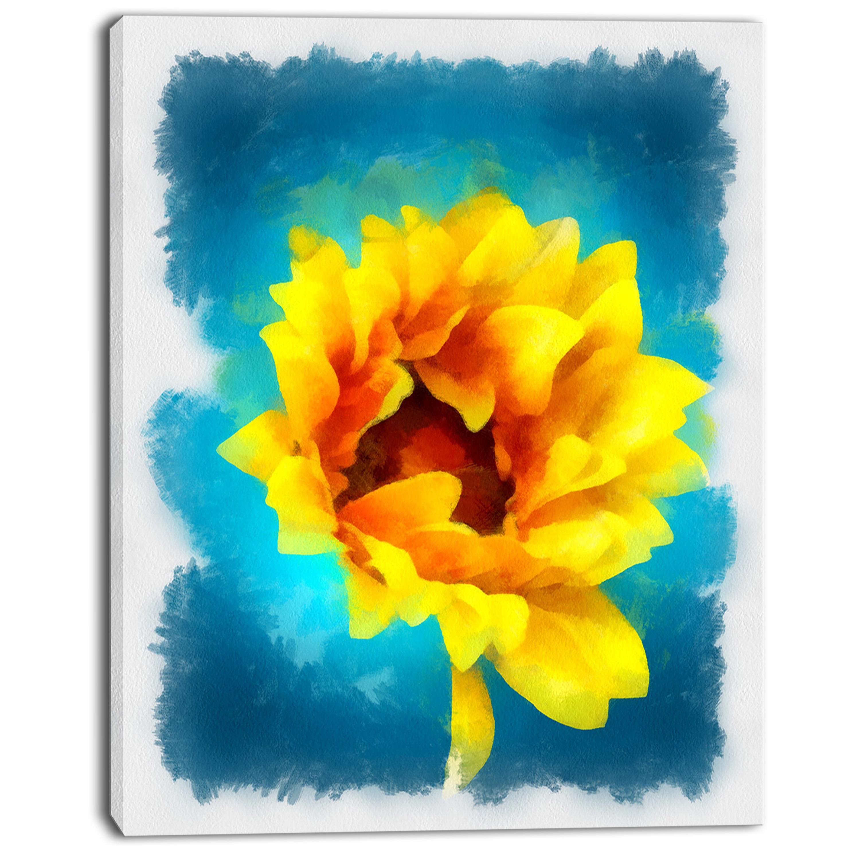 Designart \'Sunflower on Blue Watercolor \' Modern Floral Canvas Wall ...