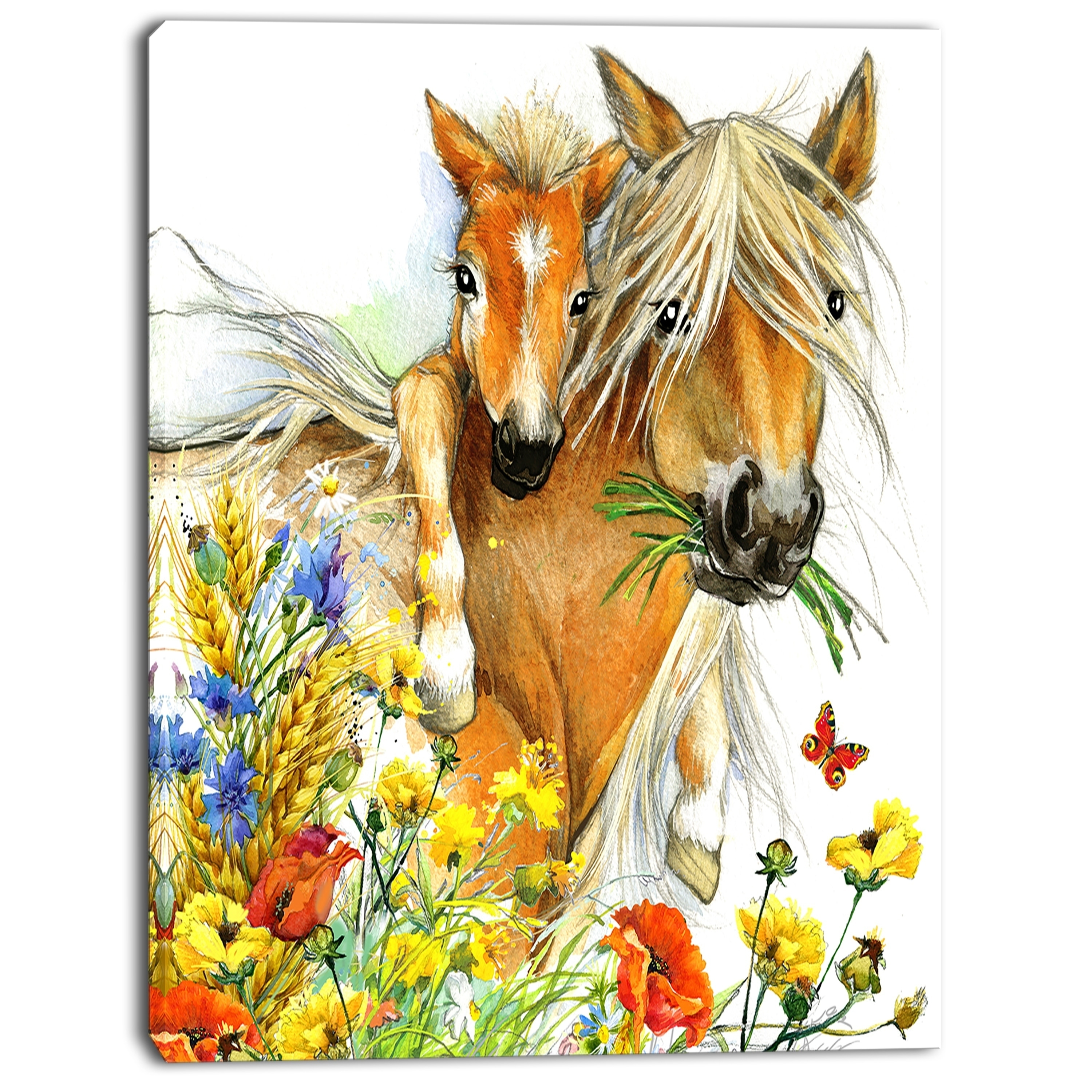 Shop Designart \'Horse and Foal with Flowers\' Extra Large Animal ...