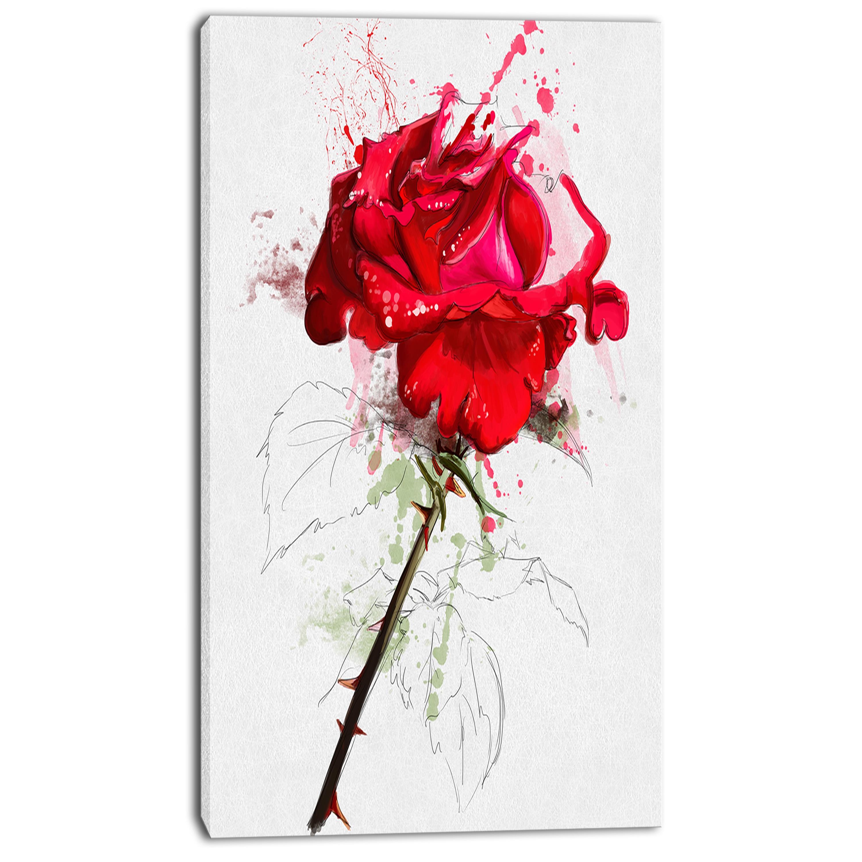 Designart 'Rose Sketch with Stem on White' Flower Artwork on Canvas - White