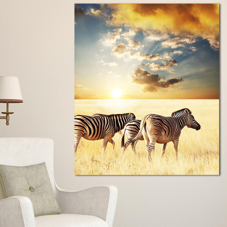 Shop Designart \'Zebras Walking in African Grassland\' African Wall ...