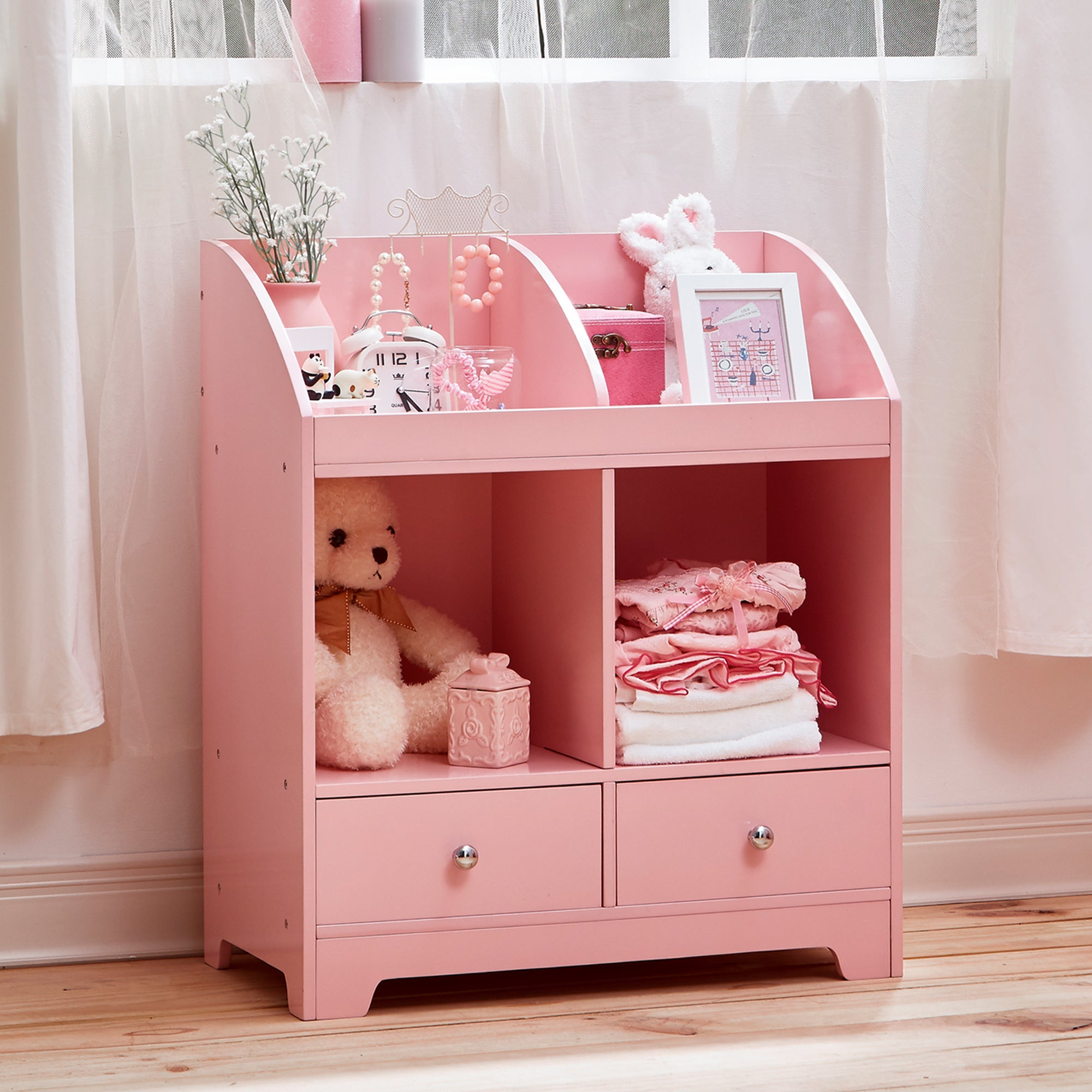 Shop Teamson Kidu0027s Windsor Pink Wood And MDF Cubby Storage   On Sale   Free  Shipping Today   Overstock.com   13141858