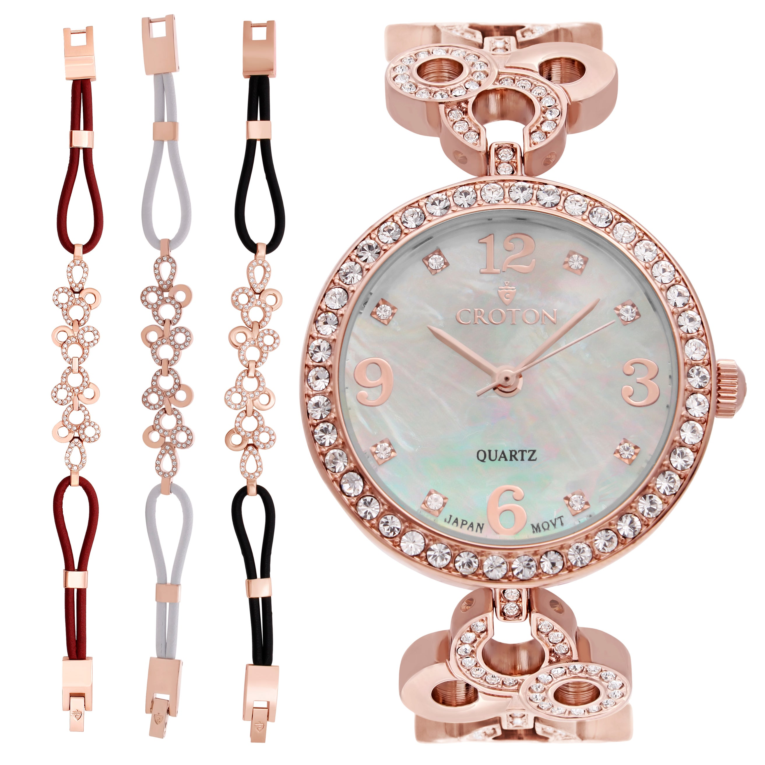 a376228bf8eec Croton Ladies Stainless Rosetone Mother of Pearl Dial with Crystal Bezel &  Bracelet Set Watch