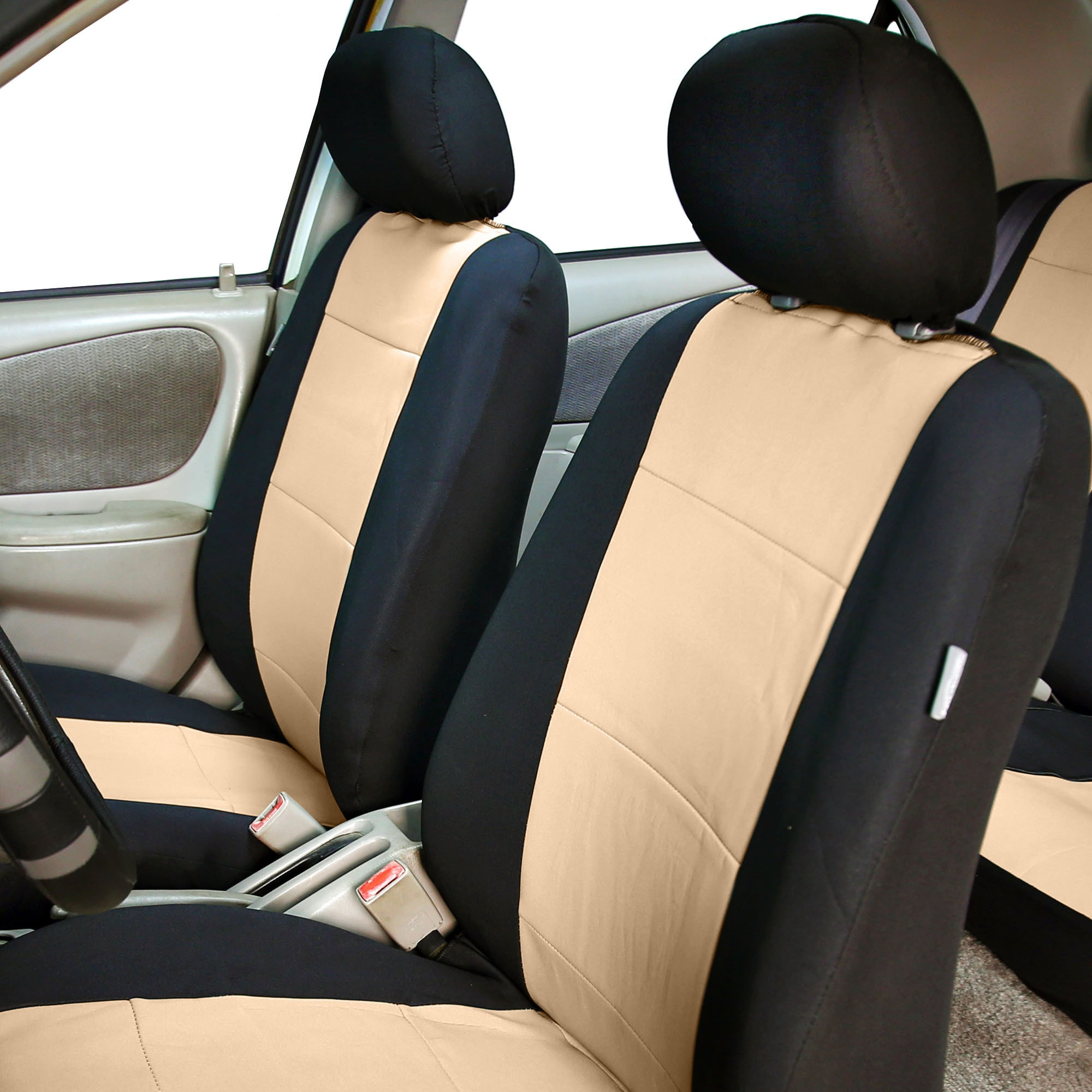 FH Group Beige Neoprene Water Resistant Bucket Seat Covers Set Of 2
