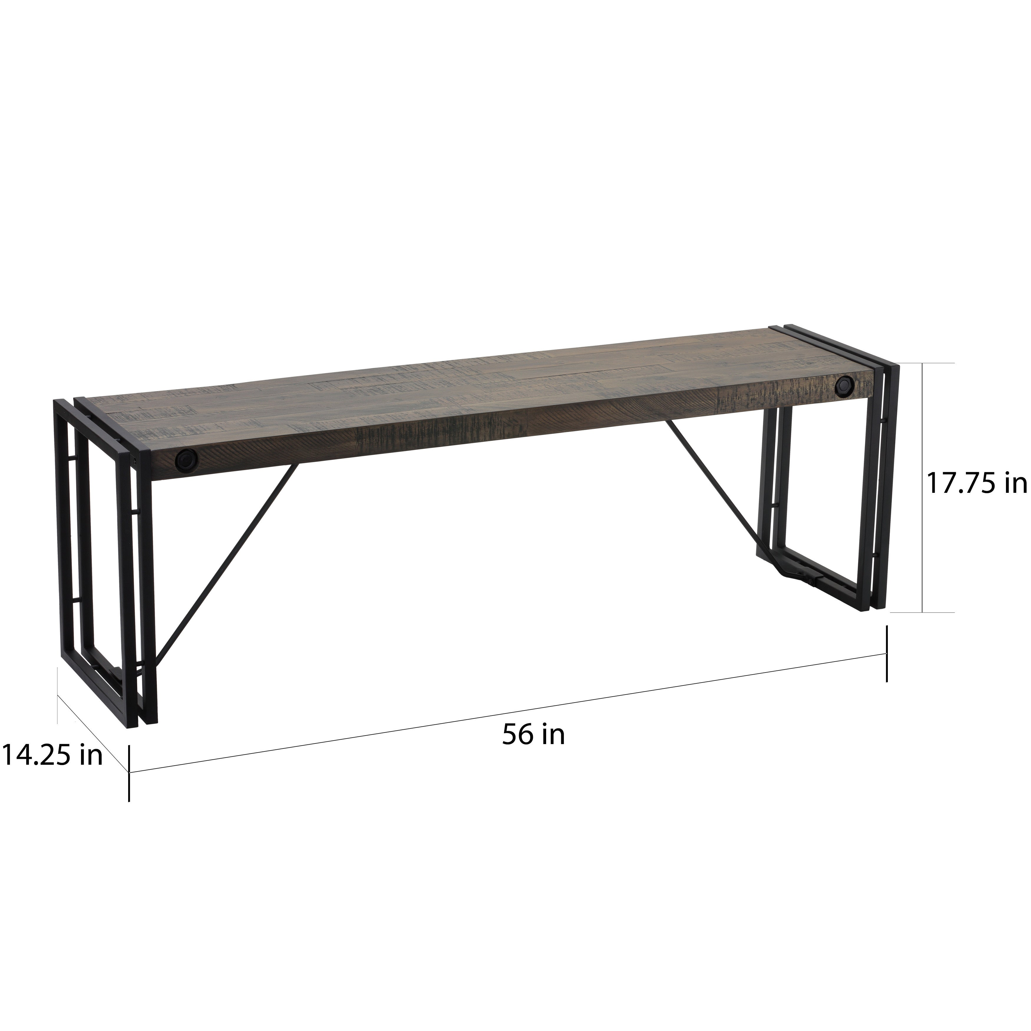 Shop Carbon Loft Edelman Black/Grey Driftwood Bench with Metal Frame ...